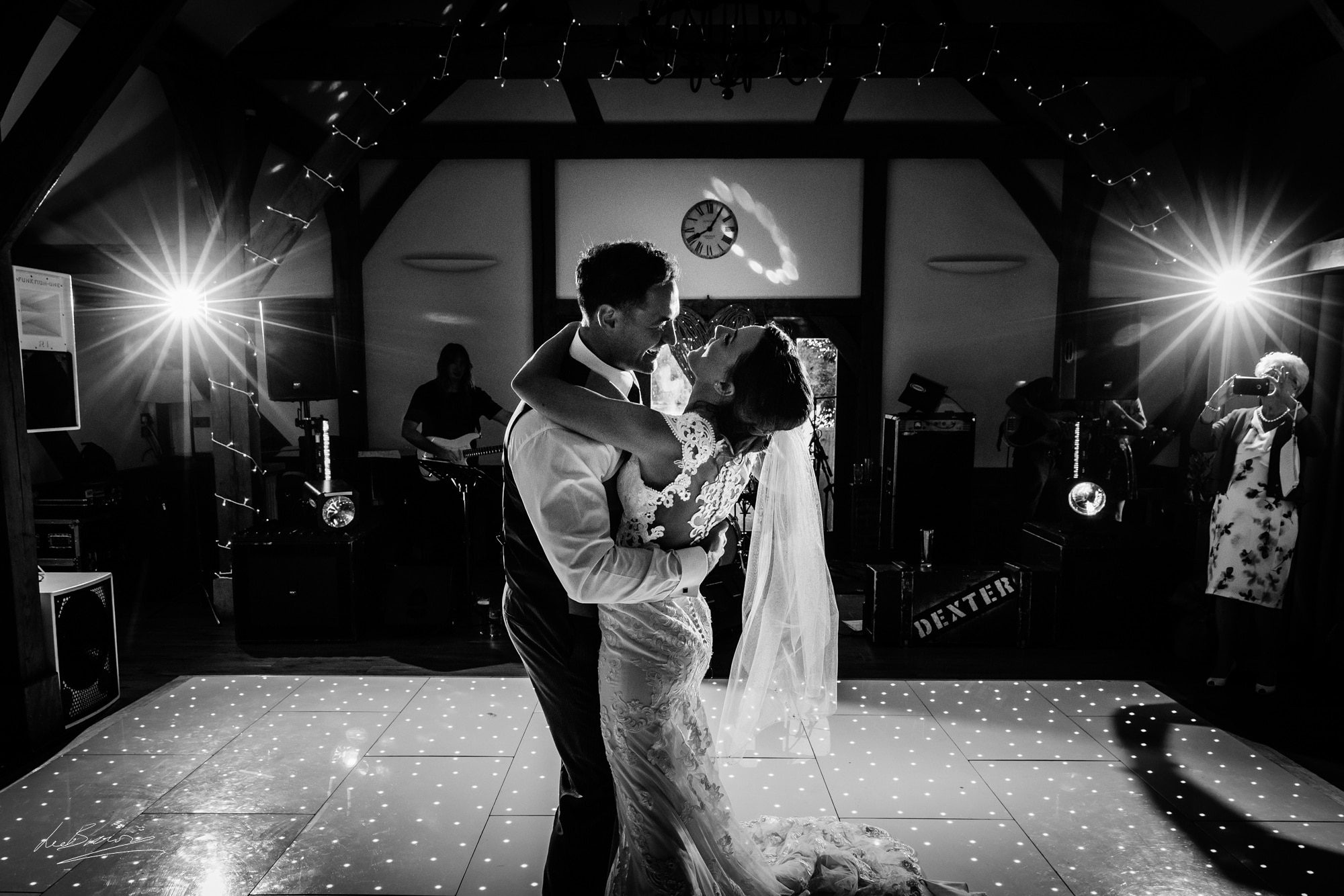 the couple dancing after their wedding at sandhole oak barn