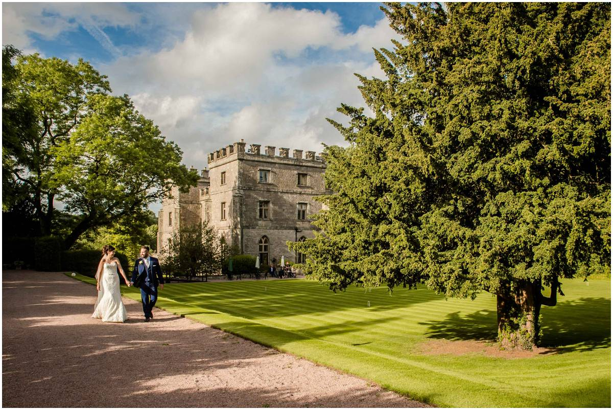 Clearwell Castle wedding photography - bride and groom in gardens