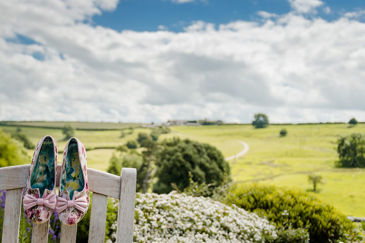 The stunning view from the terrace at Kingscote Barn