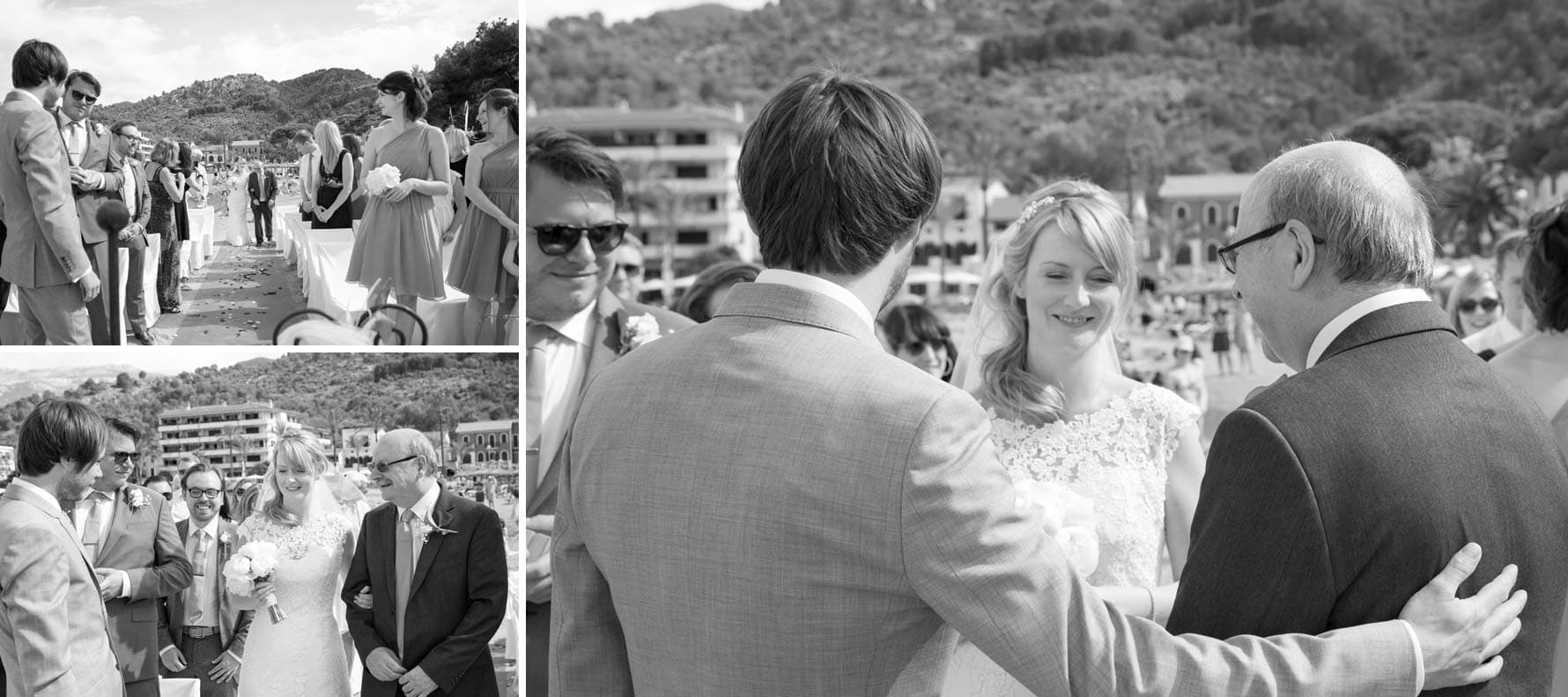 """Here comes the bride"" by Mallorca wedding photographer in Port de Soller"