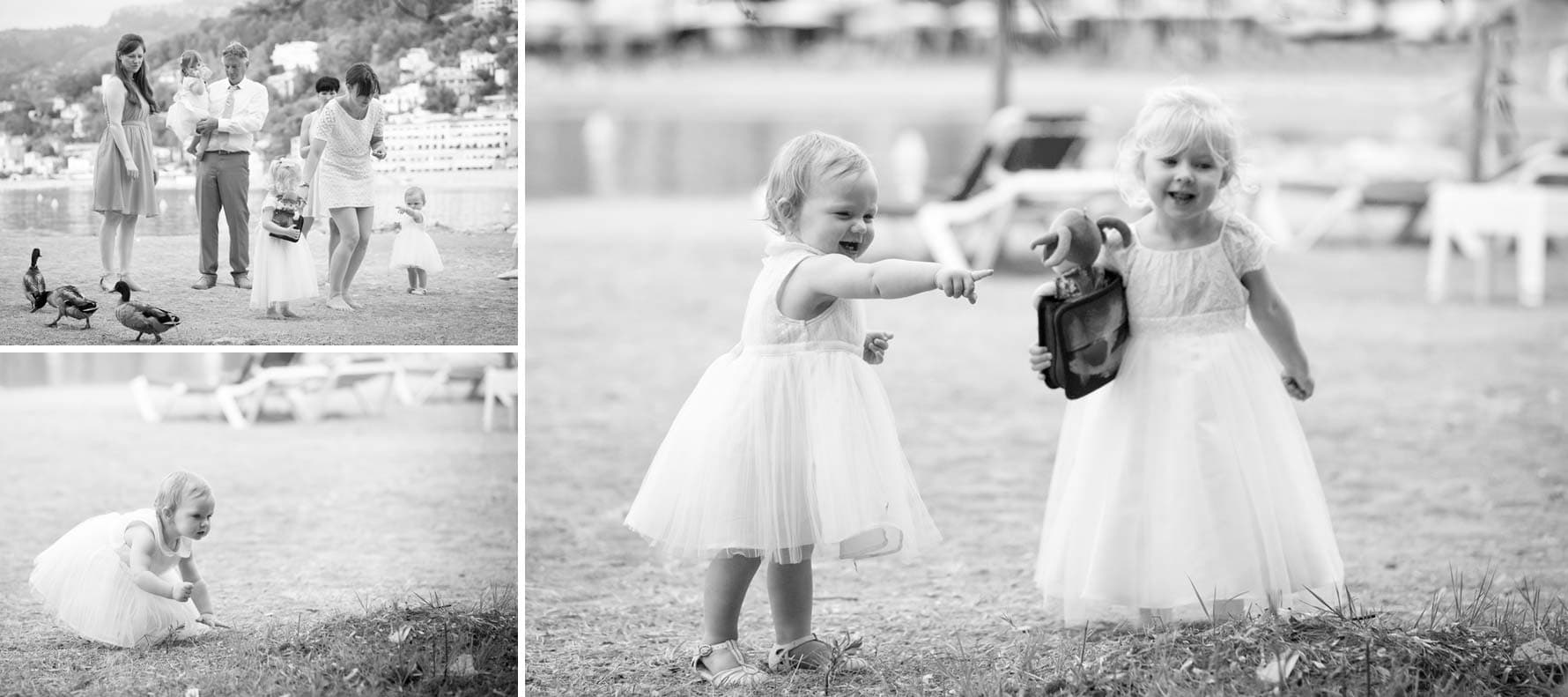 Playing with the ducks by Mallorca wedding photographer in Port de Soller