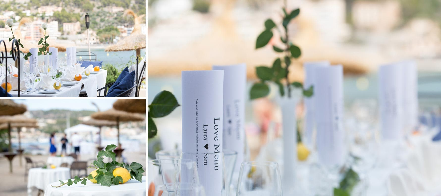 """The tables are laid"" by Mallorca wedding photographer in Port de Soller"
