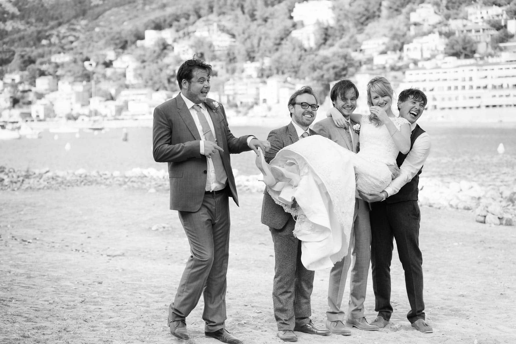 """The boys with Laura"" by Mallorca wedding photographer in Port de Soller"