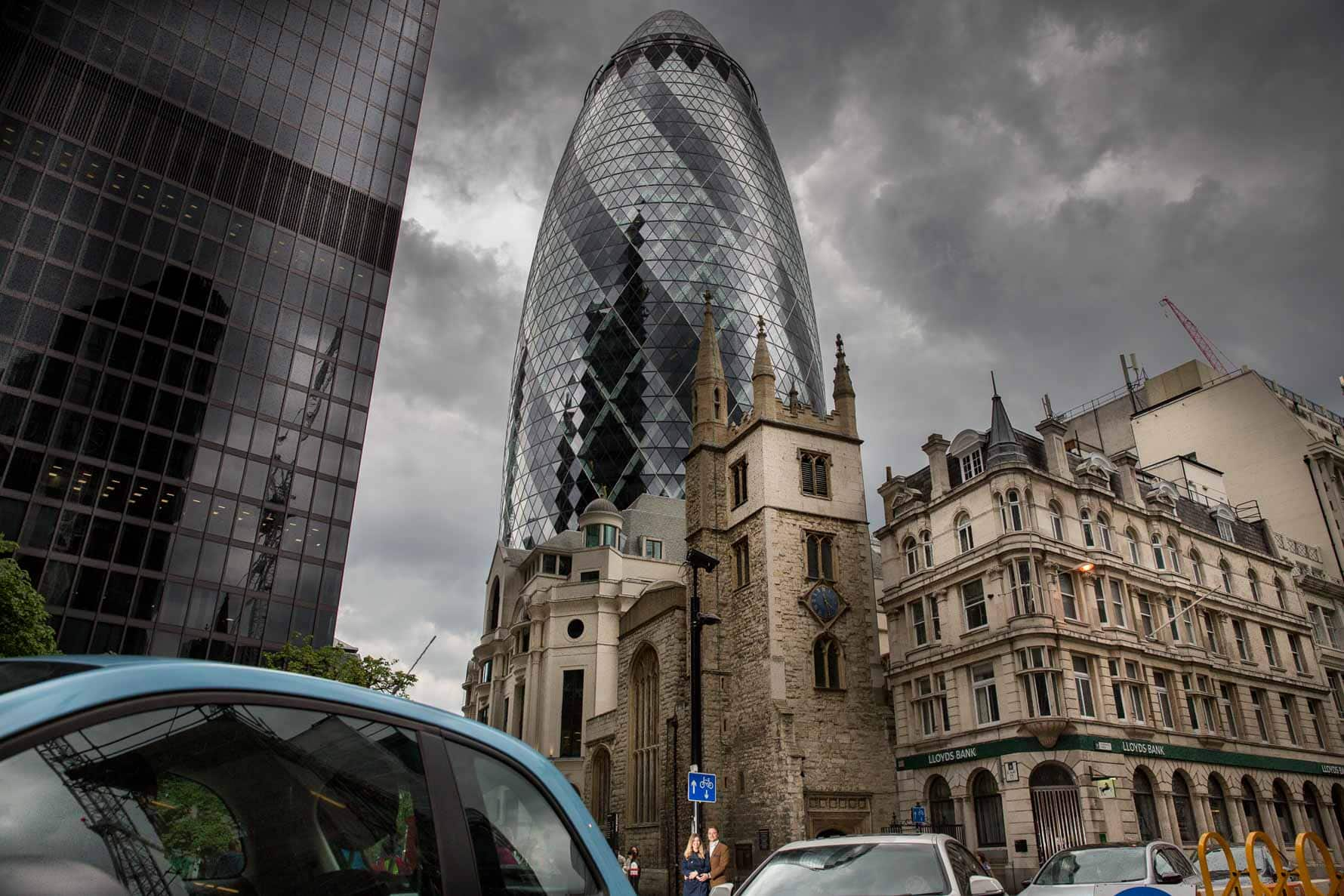 The Gherkin and St Andrew Undershaft on a London engagement photoshoot by Graham Warrellow