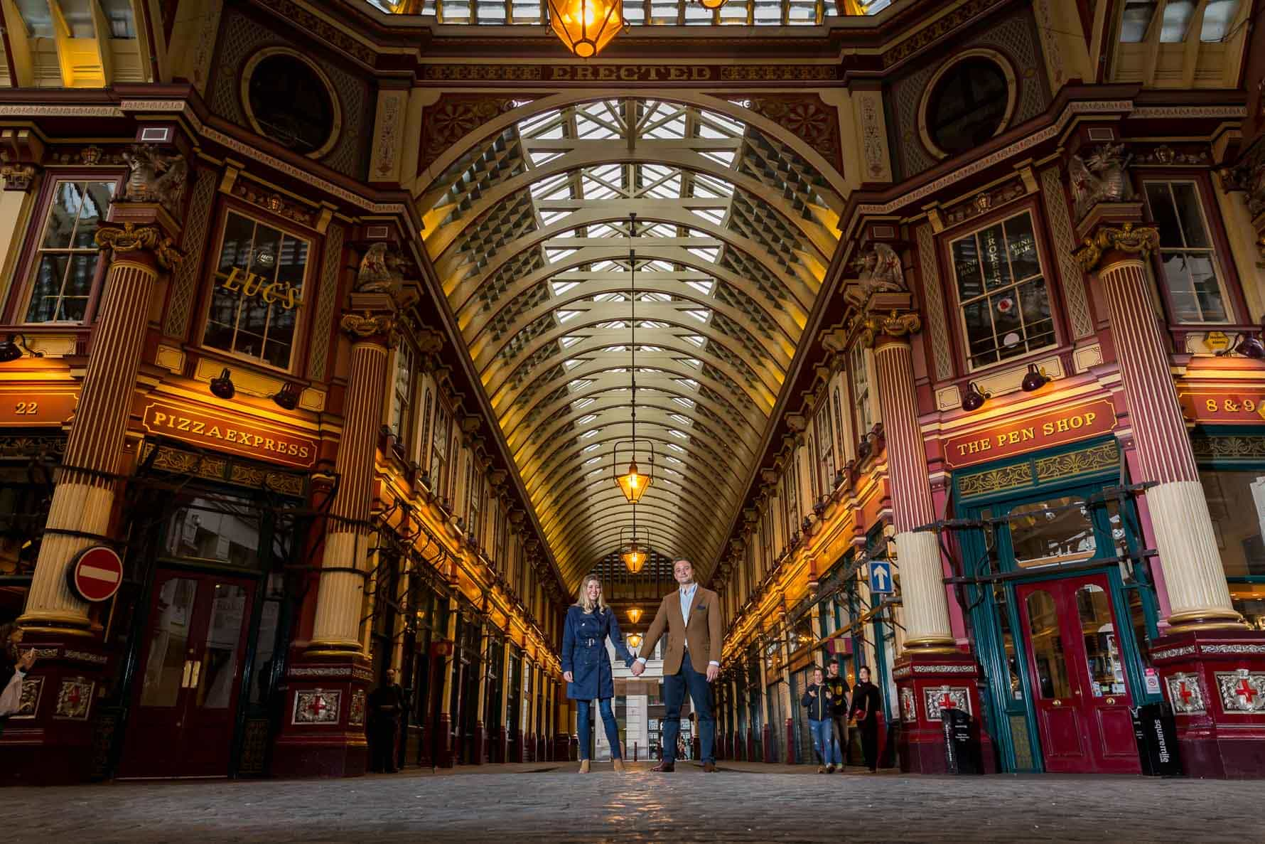 Impressive view of Paula and Oliver in Leadenhall Market