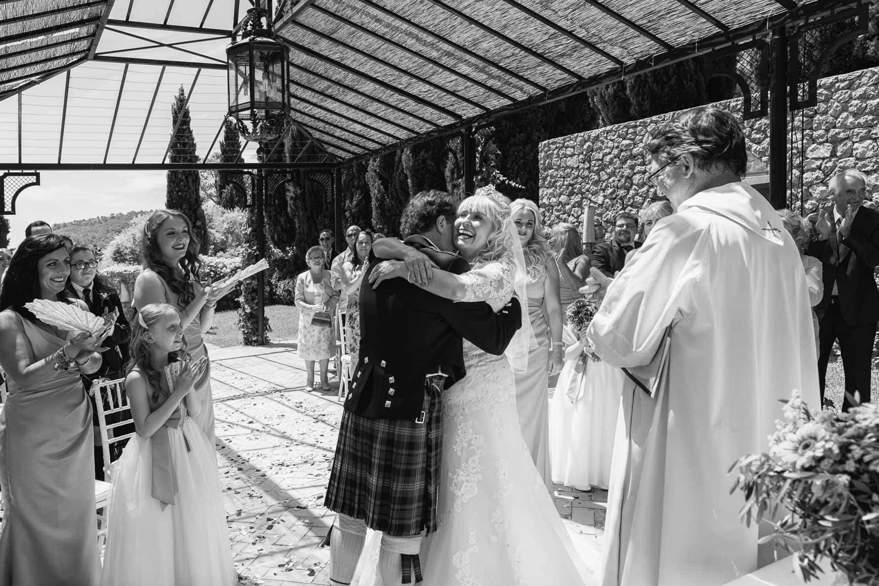 First hug as man and wife at their Mallorca wedding at the Valldemossa Hotel