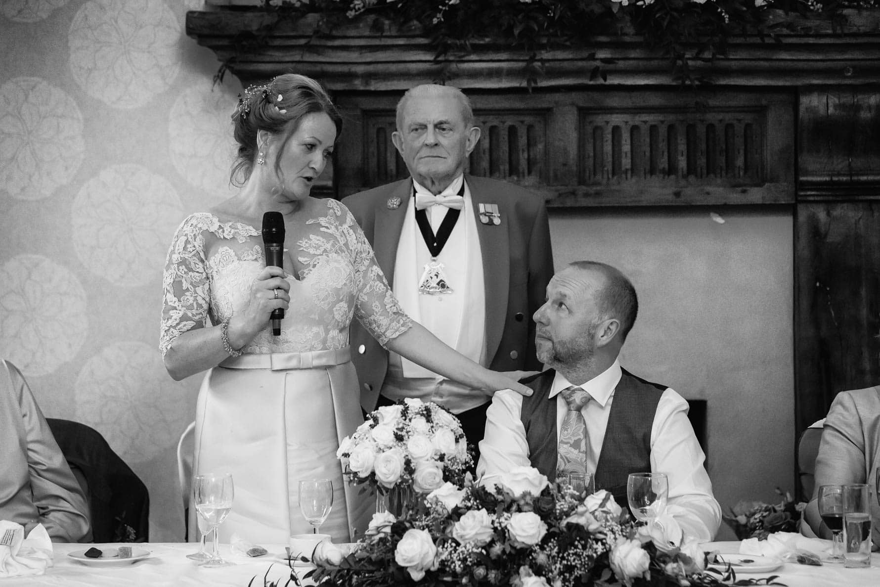 A touching moment between the bride and her new husband