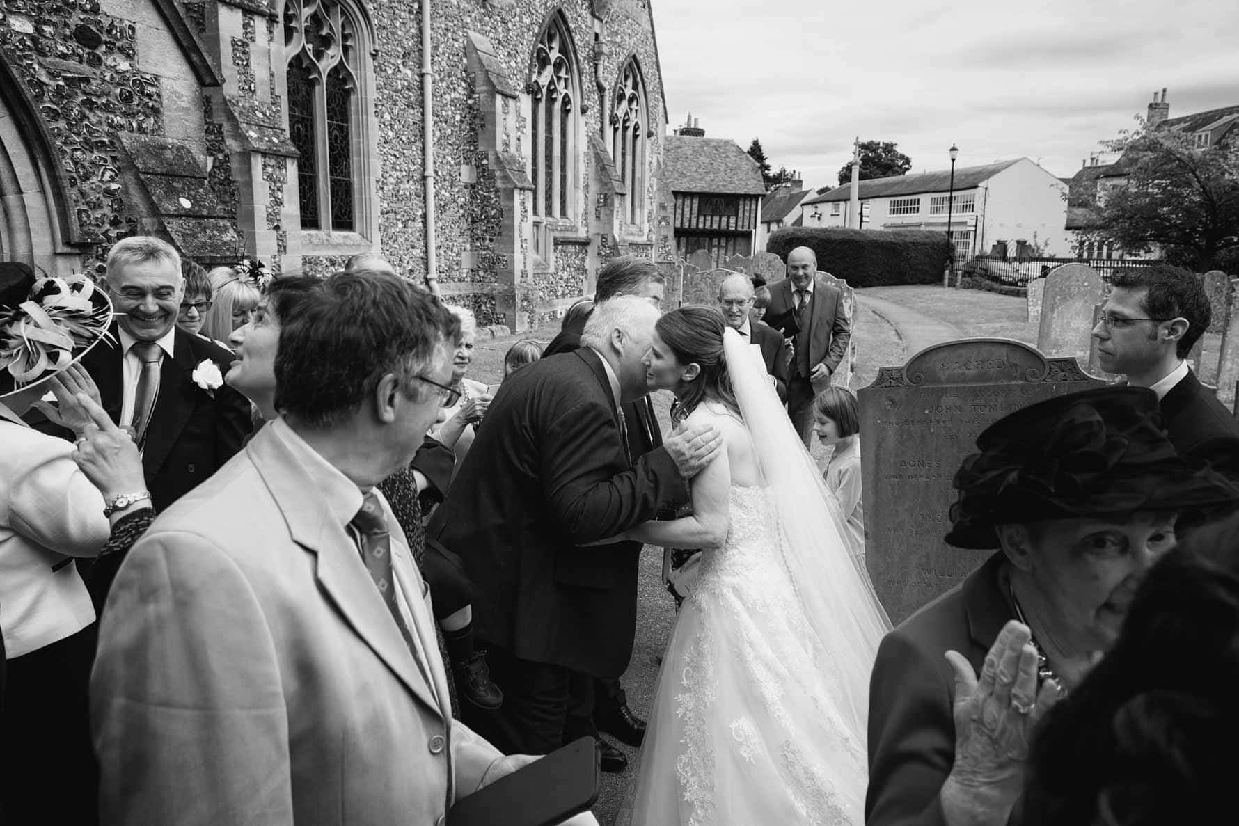After the wedding at St Mary's Church, Welwyn in Hertfordshire