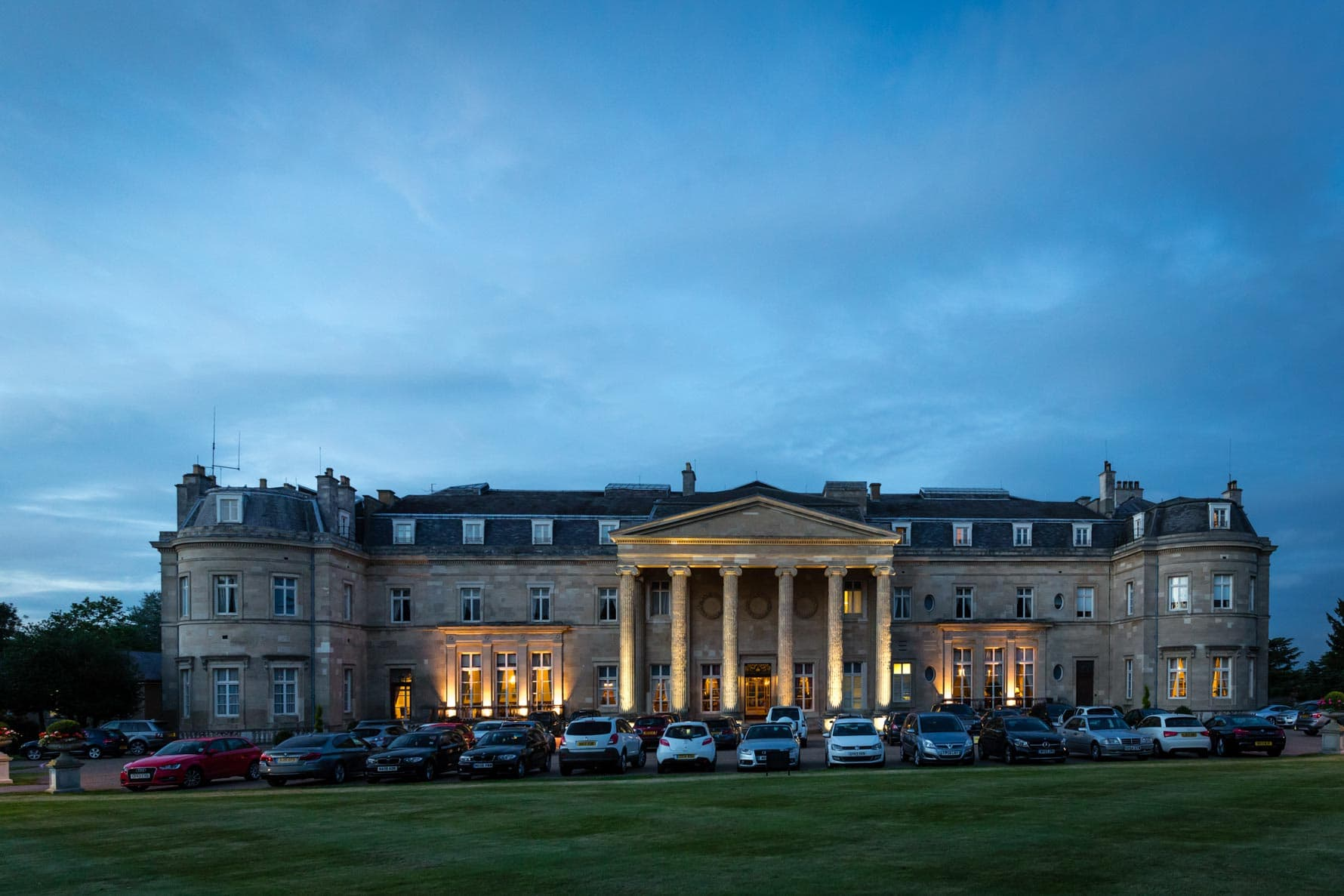 Luton Hoo Hotel in Bedfordshire at dusk