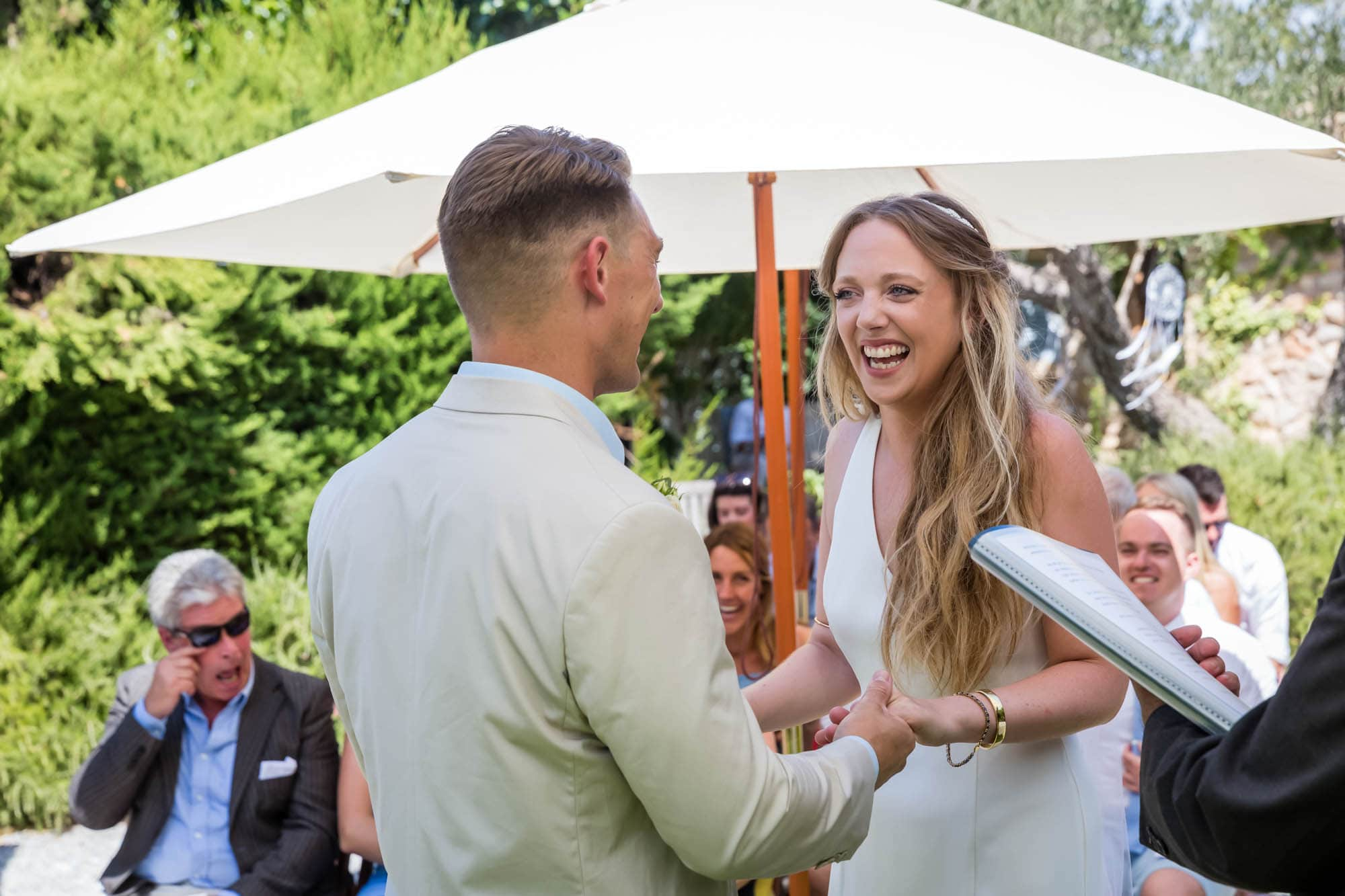 Cathy just can't hide her excitement at her Mallorca finca wedding