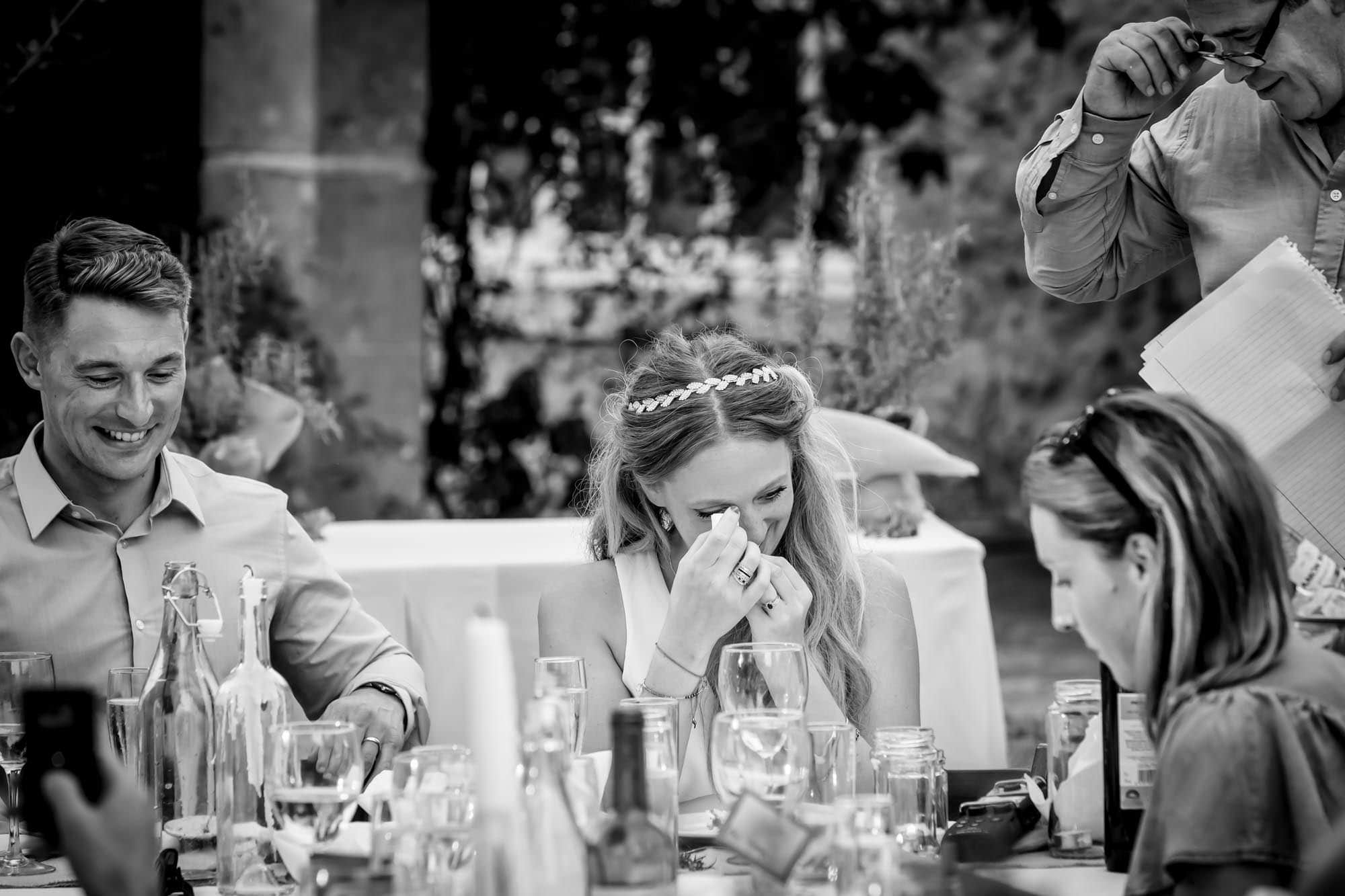 Cathy is touched by her dad's words at her Mallorca finca wedding
