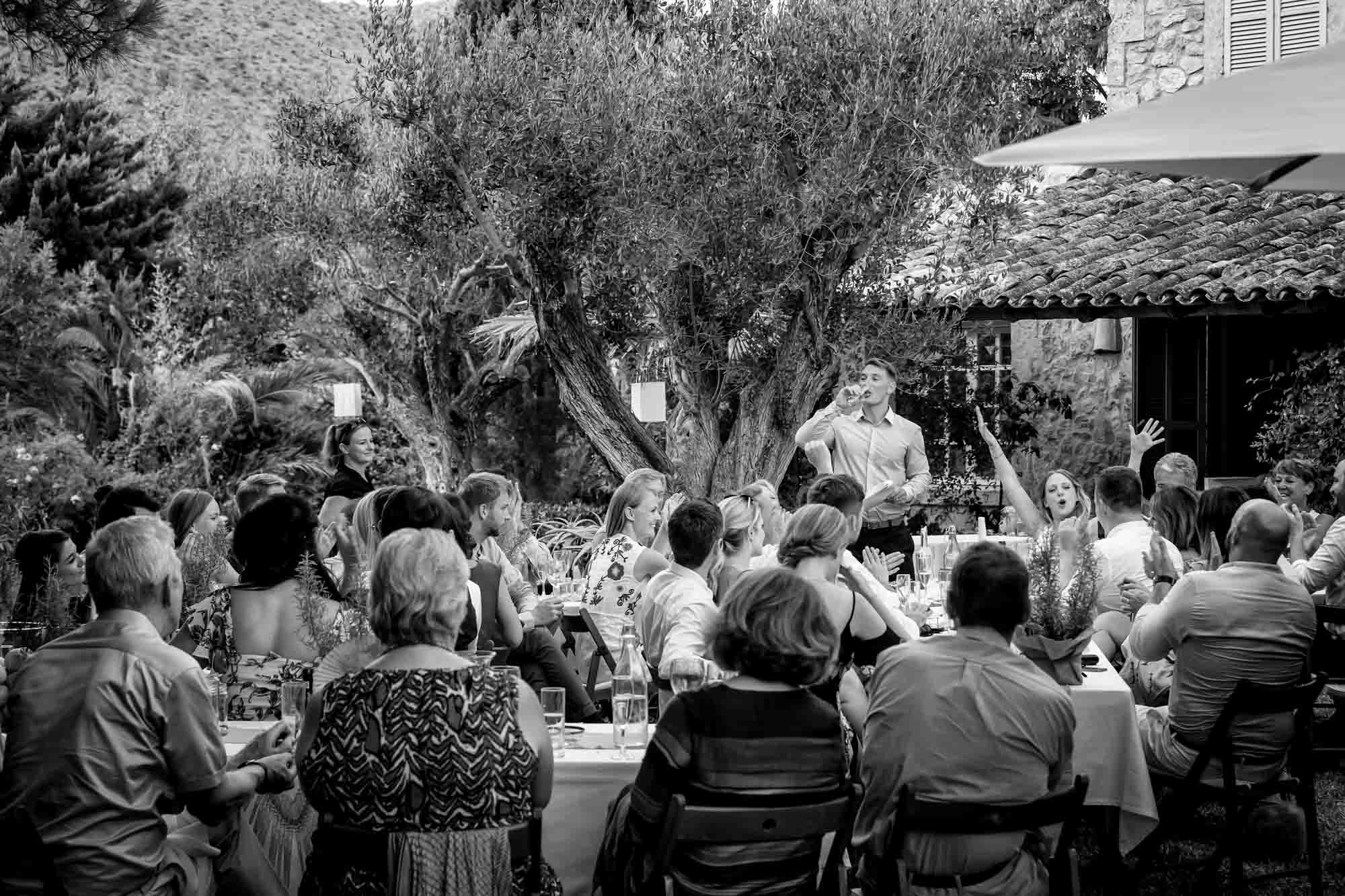 Cathy gives Ben another cheer at the end of his wedding speech at their Mallorca finca wedding