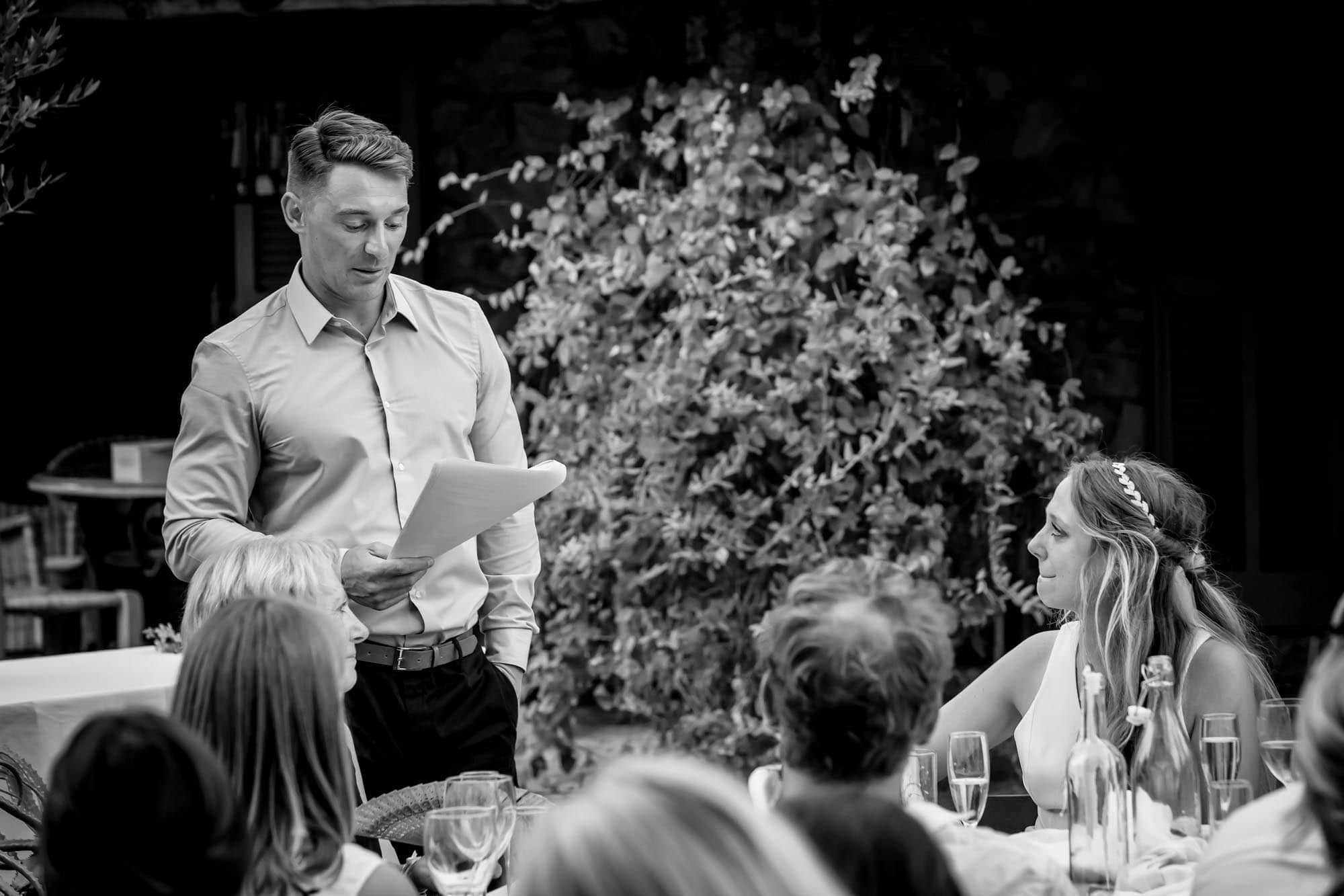 Cathy feels emotional at the end of Ben's moving wedding speech at their Mallorca finca wedding