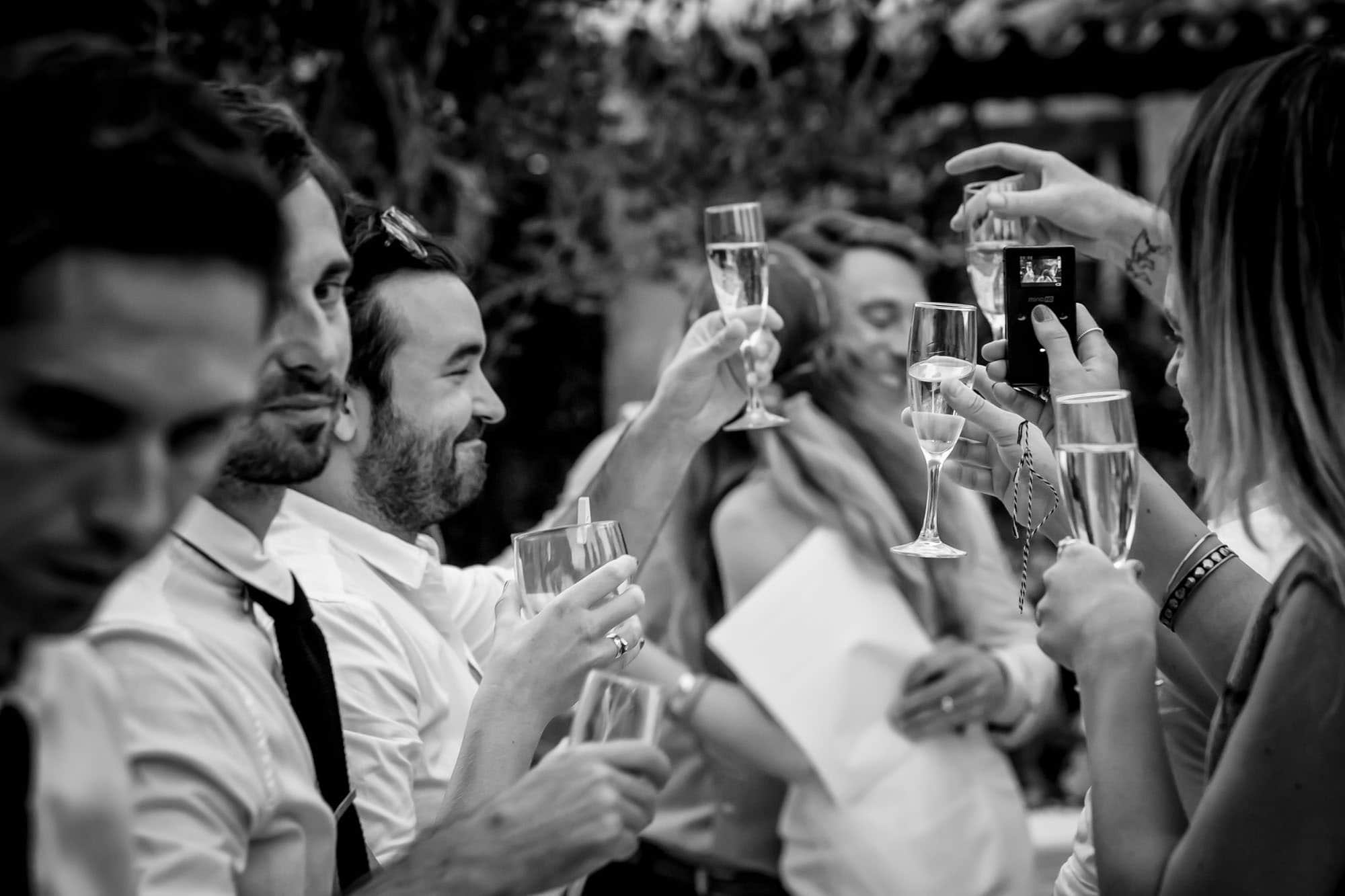 Cathy and Ben hug during the toast at their Pollensa wedding