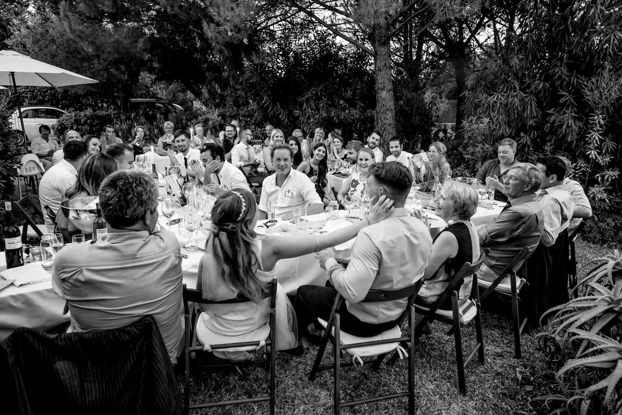 Cathy gives Ben a gentle touch during the best man's speech at their intimate Mallorca finca wedding