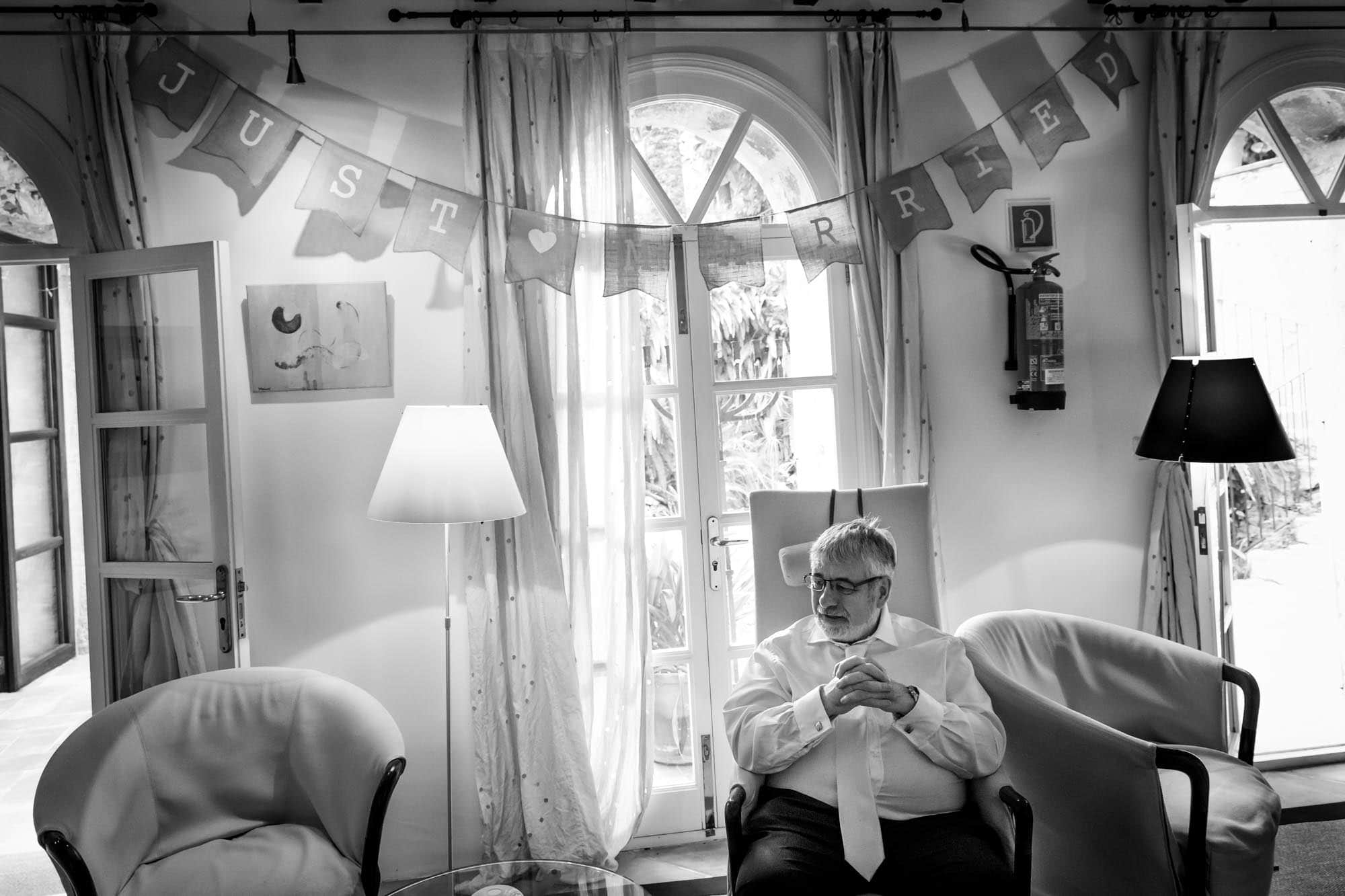 Father-of-the-bride waits for his daughter at Hotel Can Vedera in Fornalutx