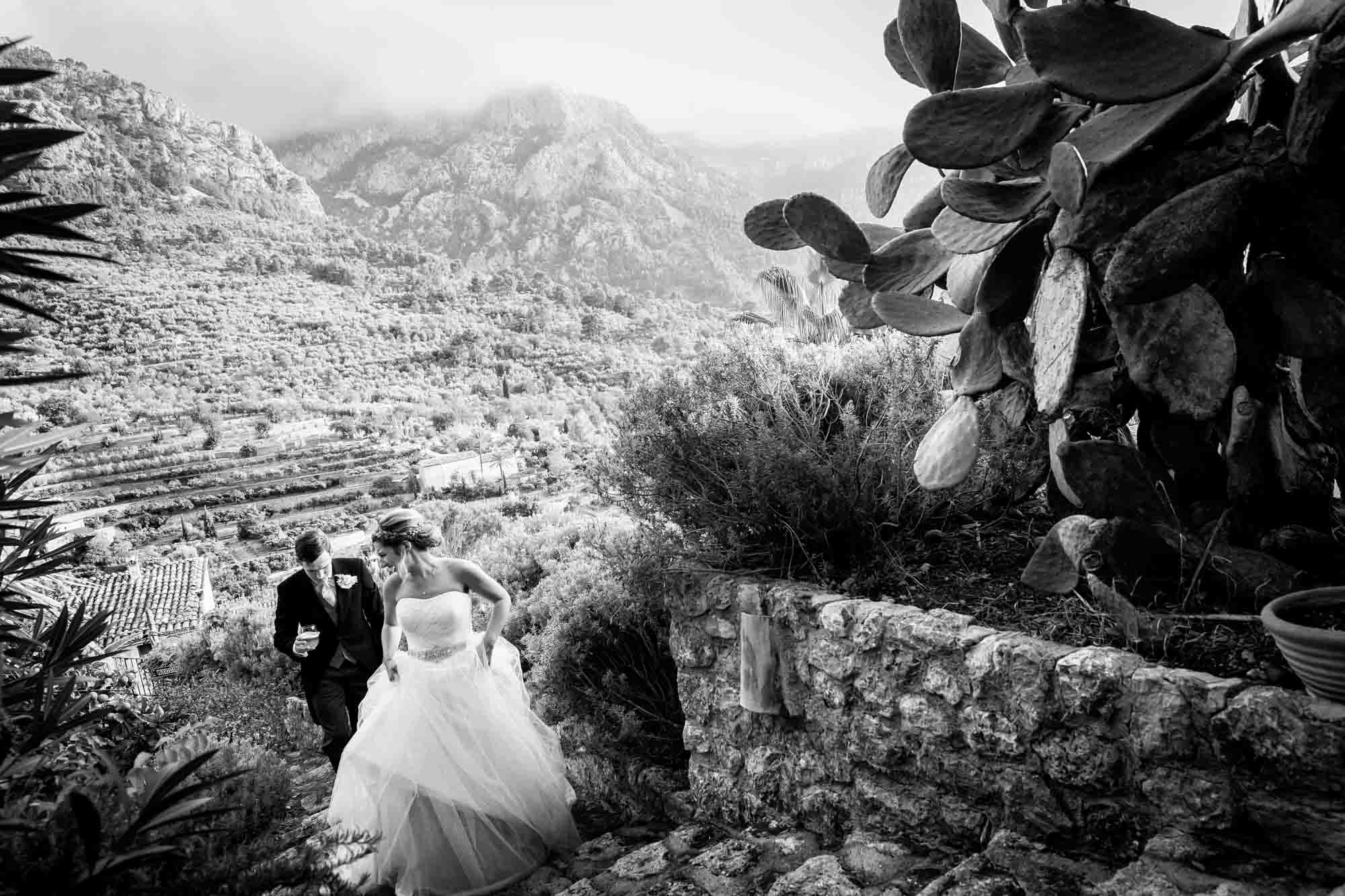 Bride and groom going to their wedding breakfast at the boutique hotel in Fornalutx, Mallorca