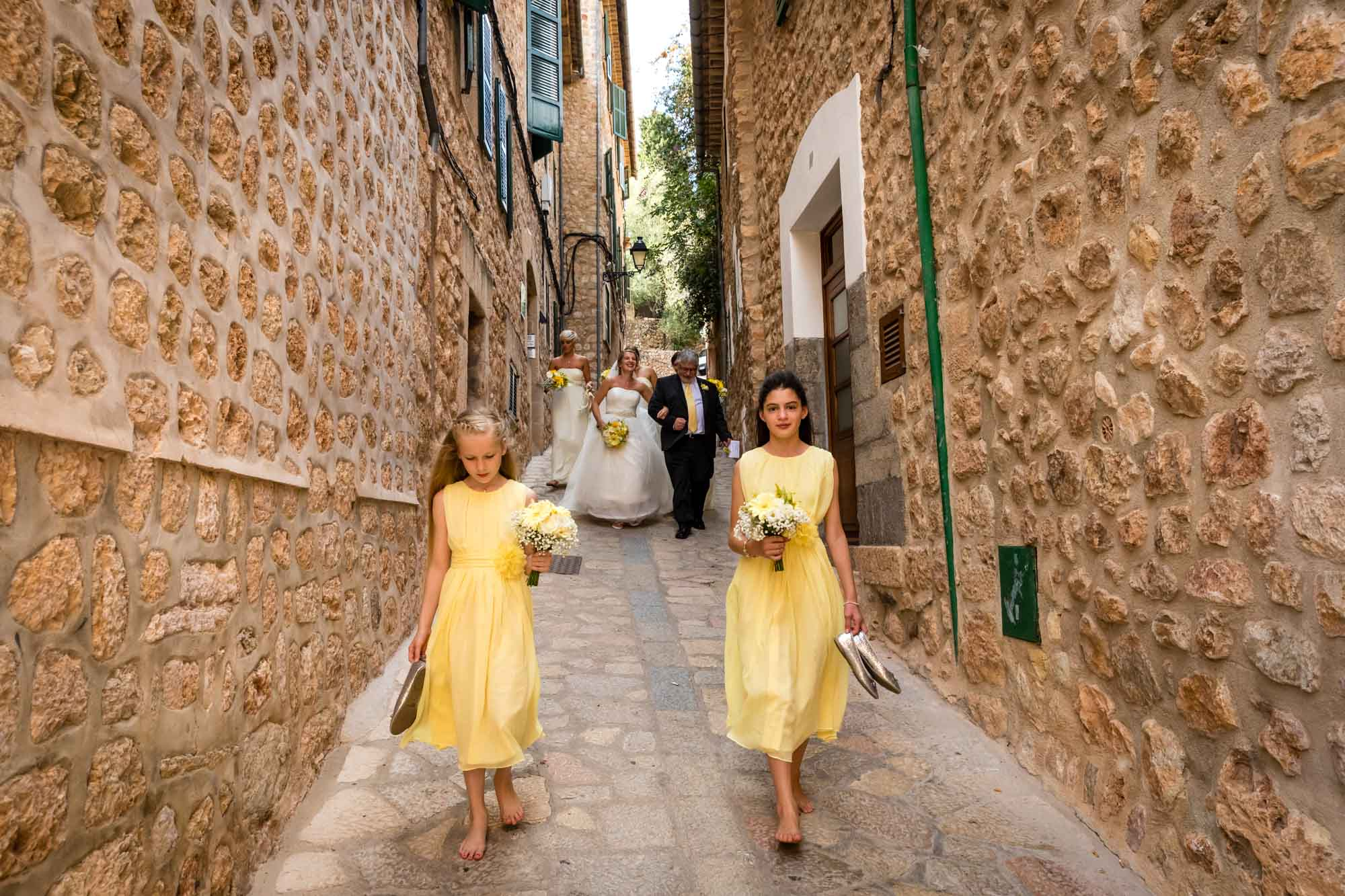 Bridal party leaving Can Verdera for wedding at Fornalutx church