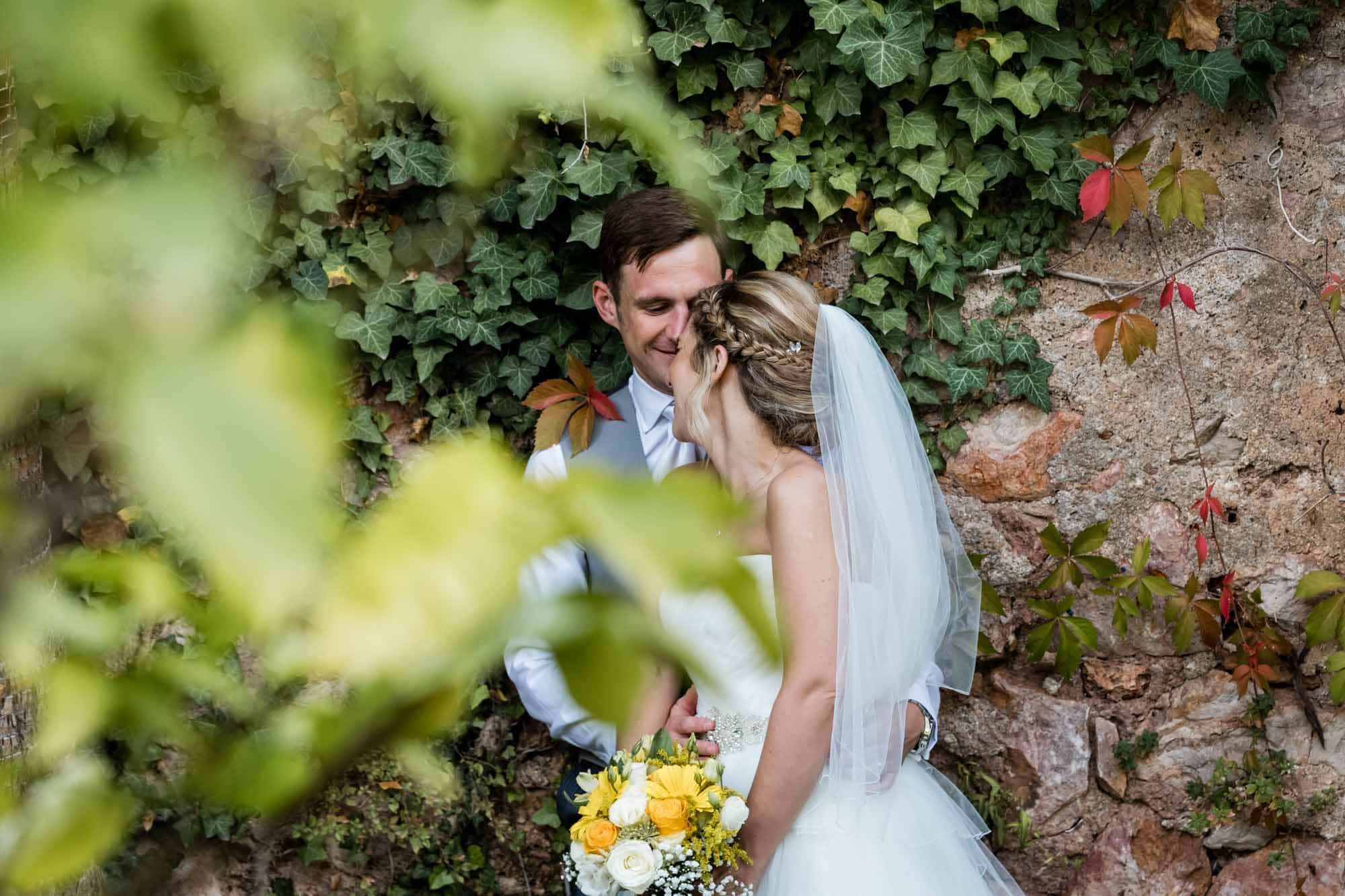 Bride and groom in the grounds of Hotel Can Verdera in Fornalutx