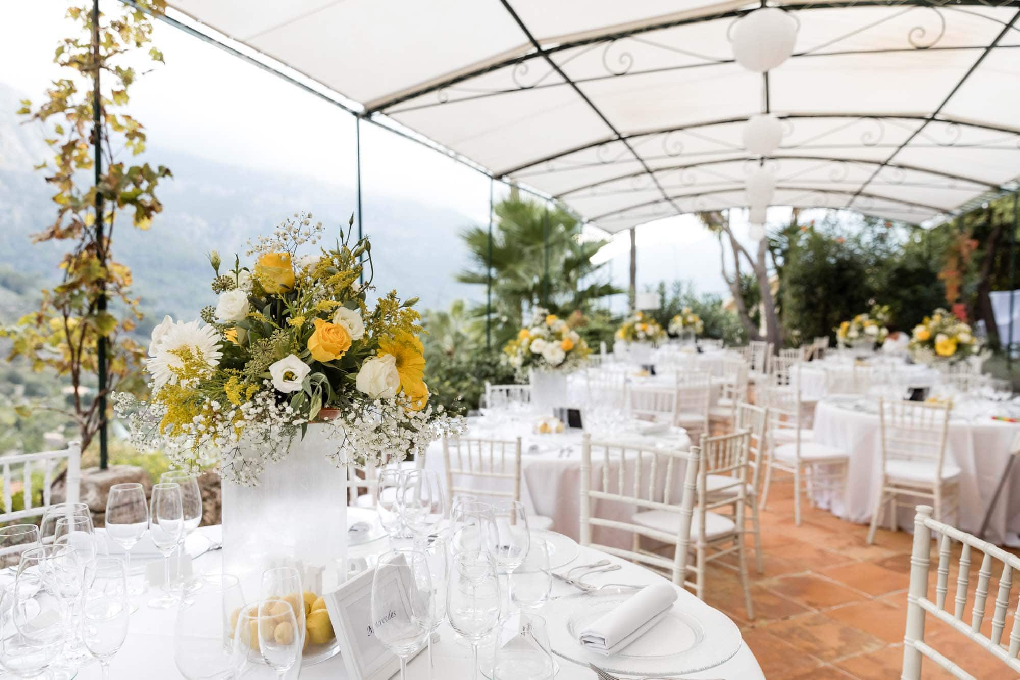 The beautiful terrace at the boutique hotel Can Verdera waiting for the wedding guests