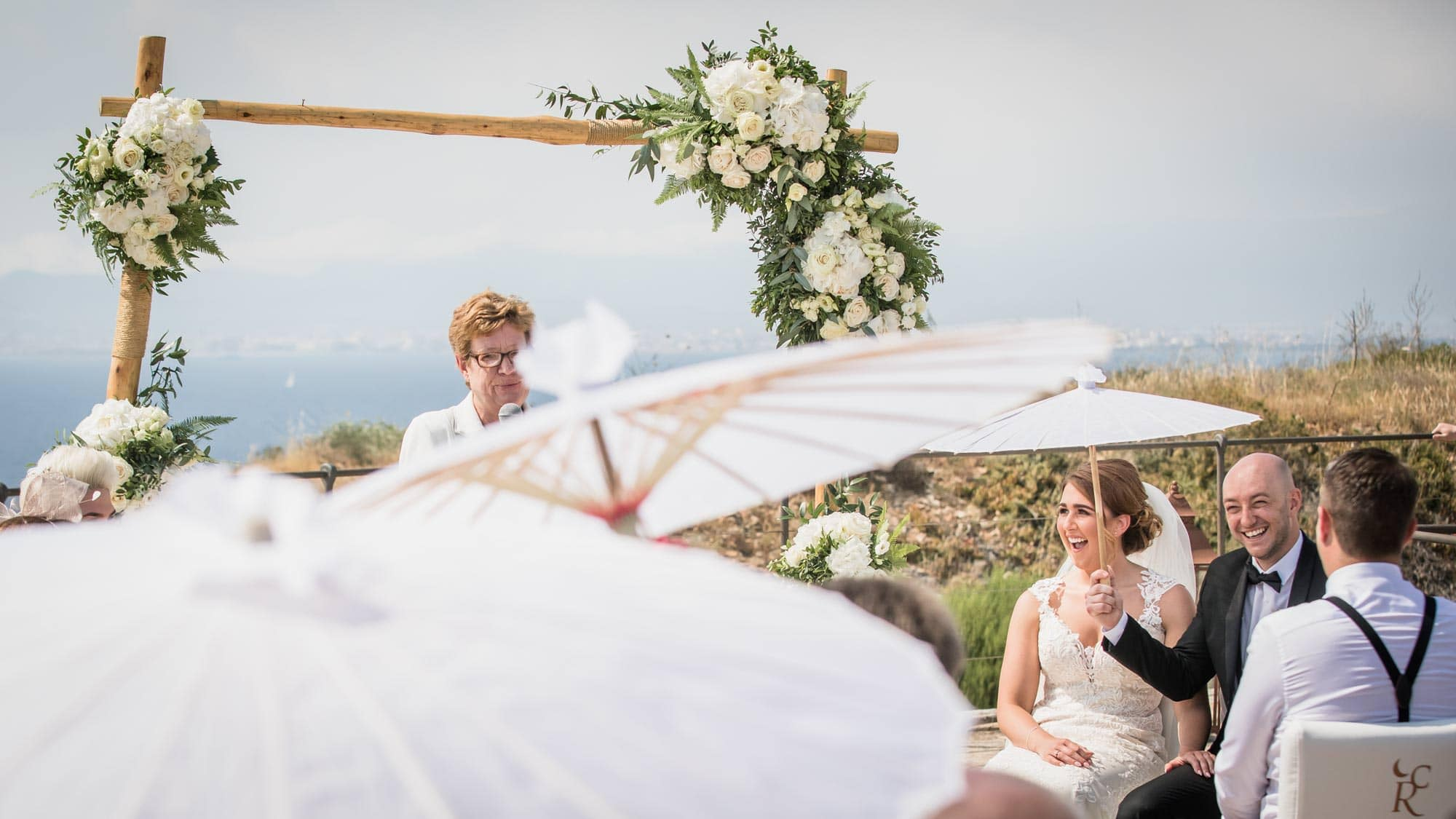 Bride and groom have fun during their Mallorca wedding at Cap Rocat hotel