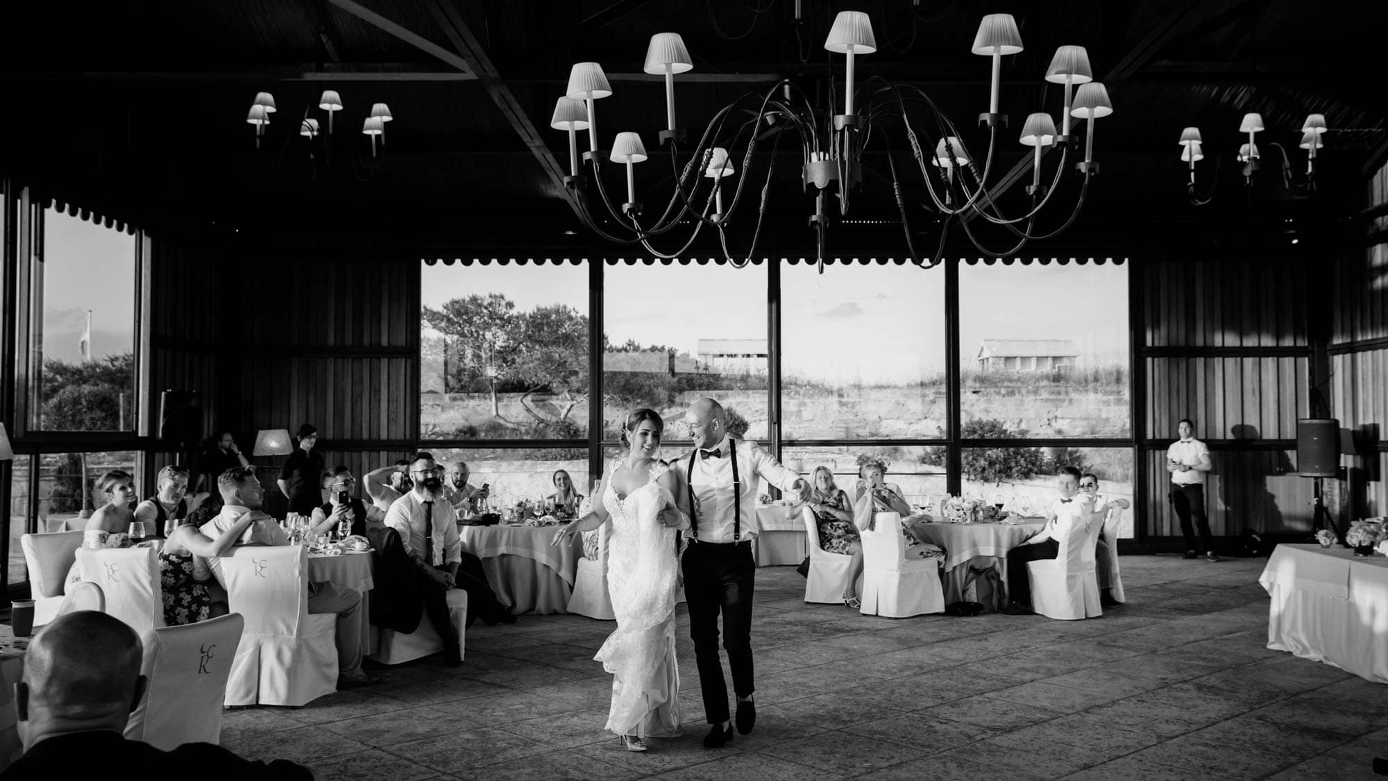 The bride and groom enjoy their first dance at the wedding reception at Cap Rocat in Mallorca