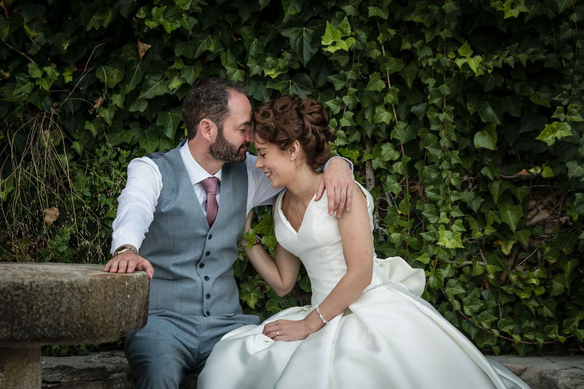 An intimate moment between the bride and groom at their Mallorca finca wedding