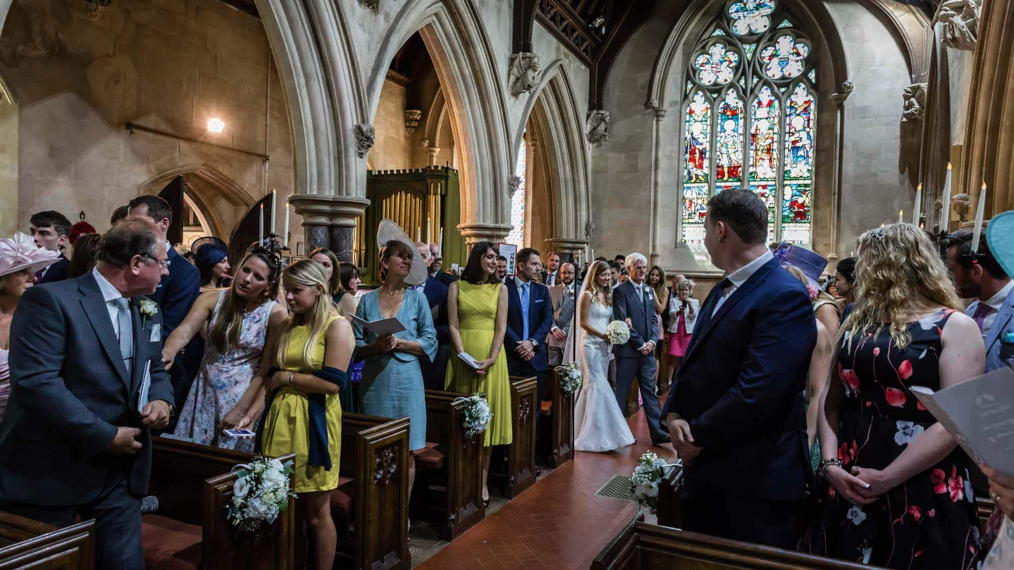 Here comes the bride at her Somerset wedding