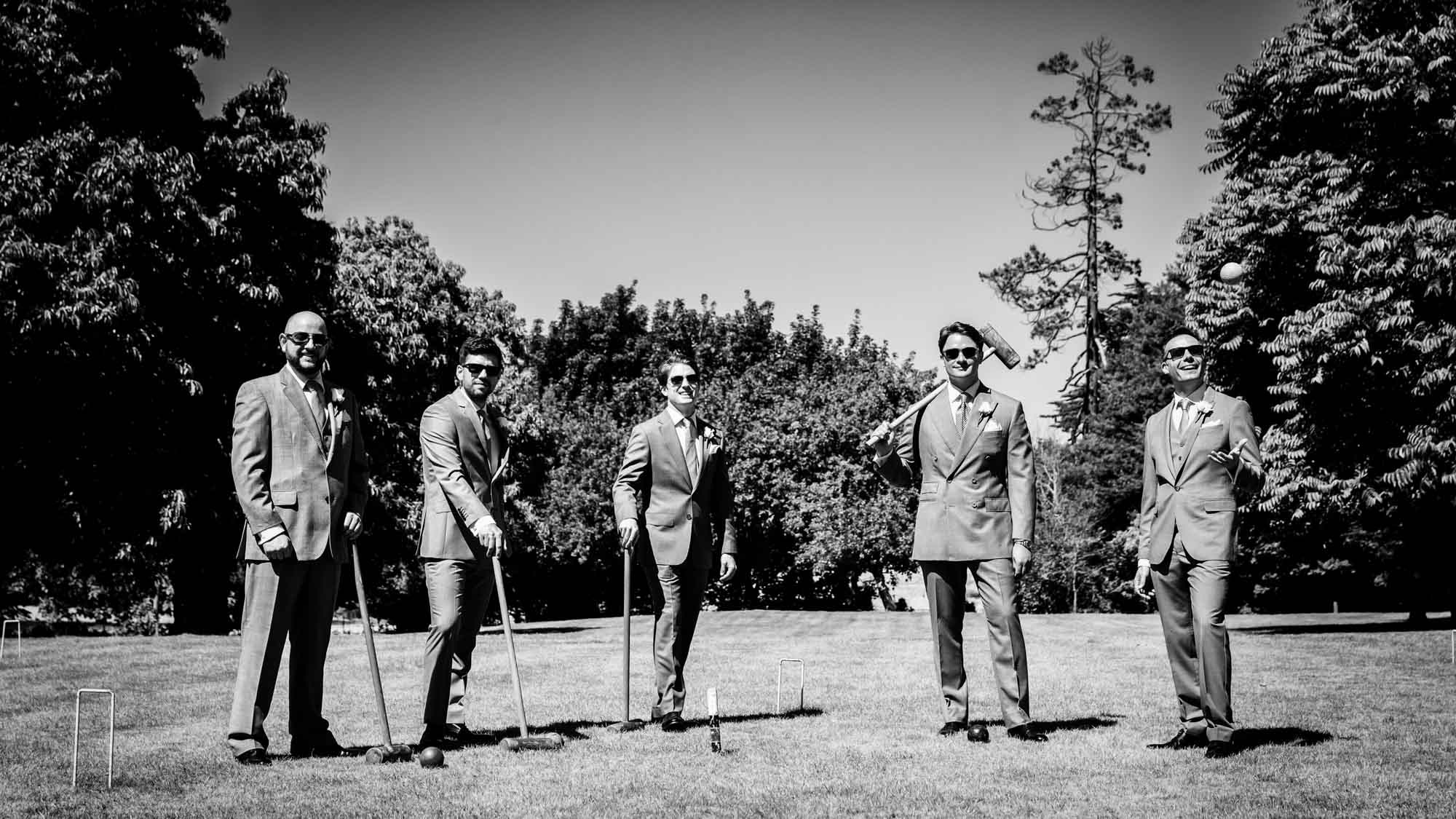 The boys playing croquet at St Audries Park