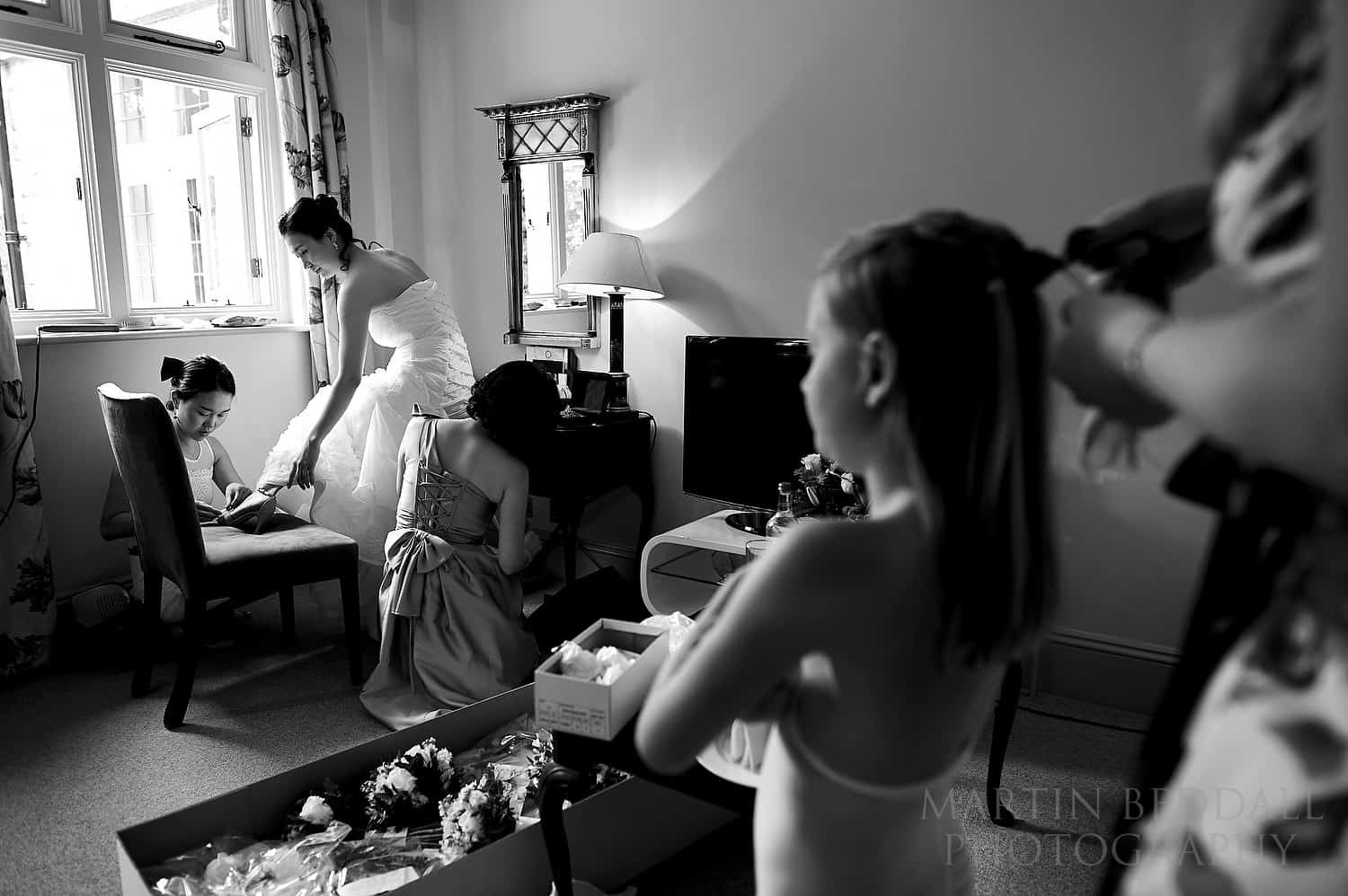Getting ready in the bridal suite