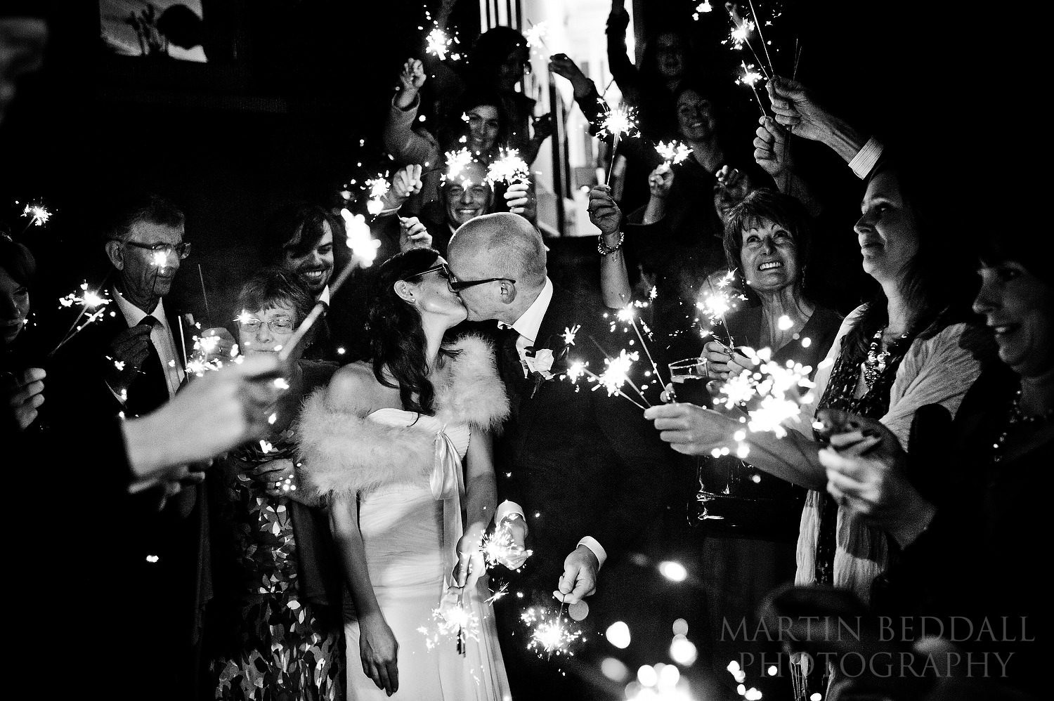 Sparklers at a November 5th wedding in Hove