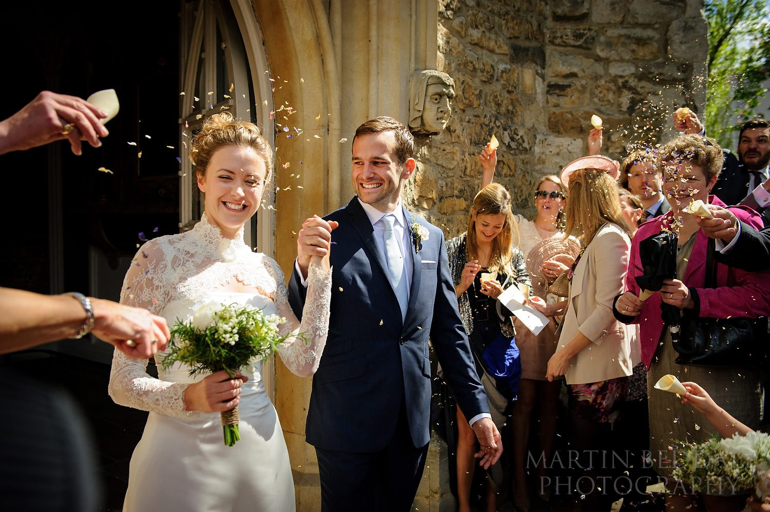 Confetti outside St Mary the Virgin church in Putney