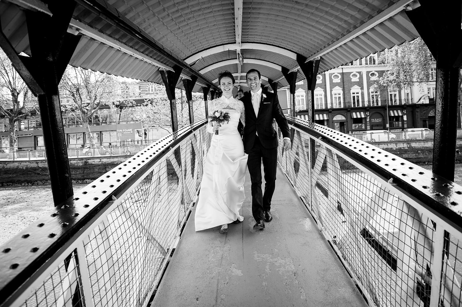 Putney embarking for wedding reception on the Thames