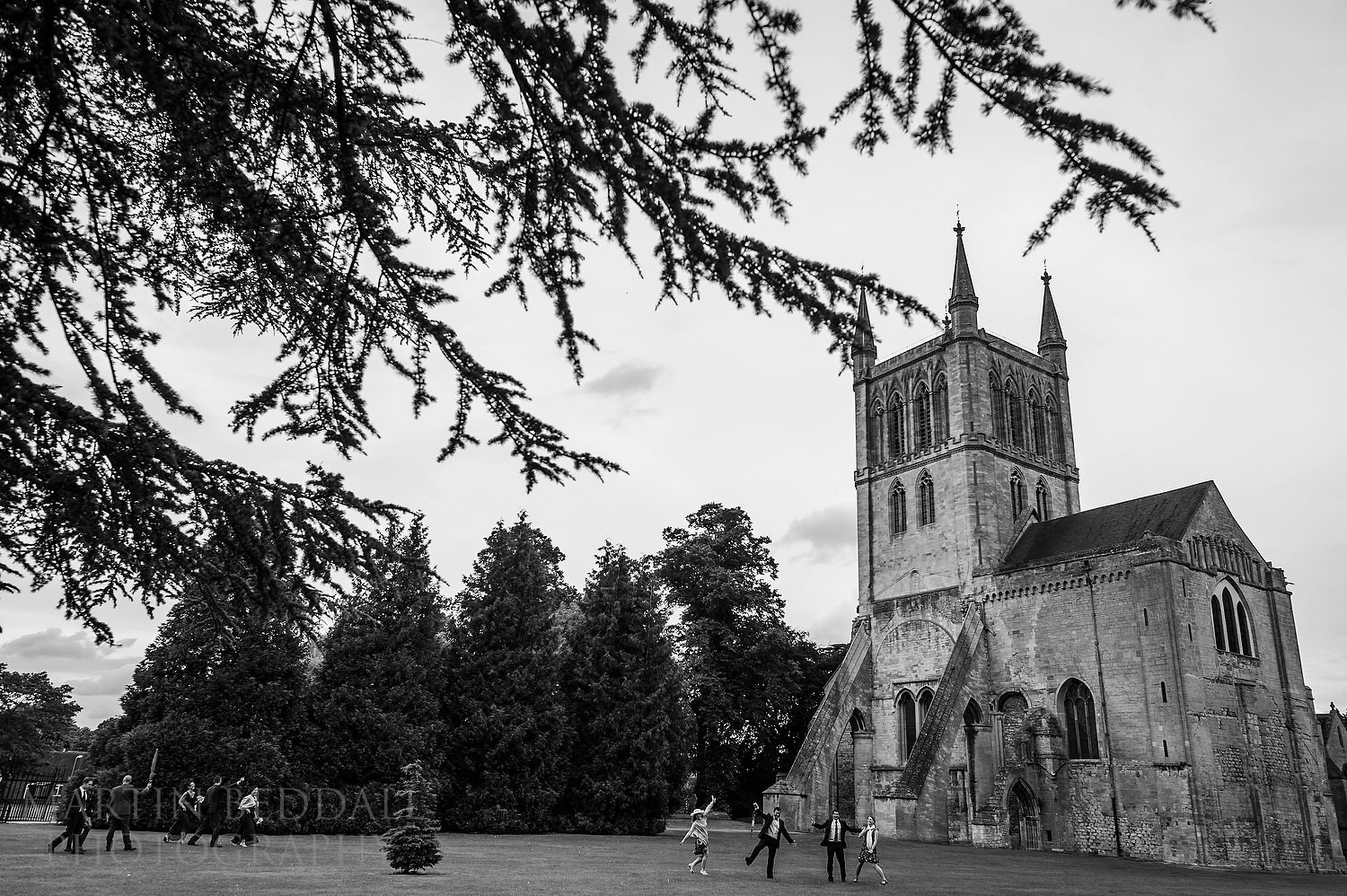 Wedding guests head to the restaurant from Pershore Abbey
