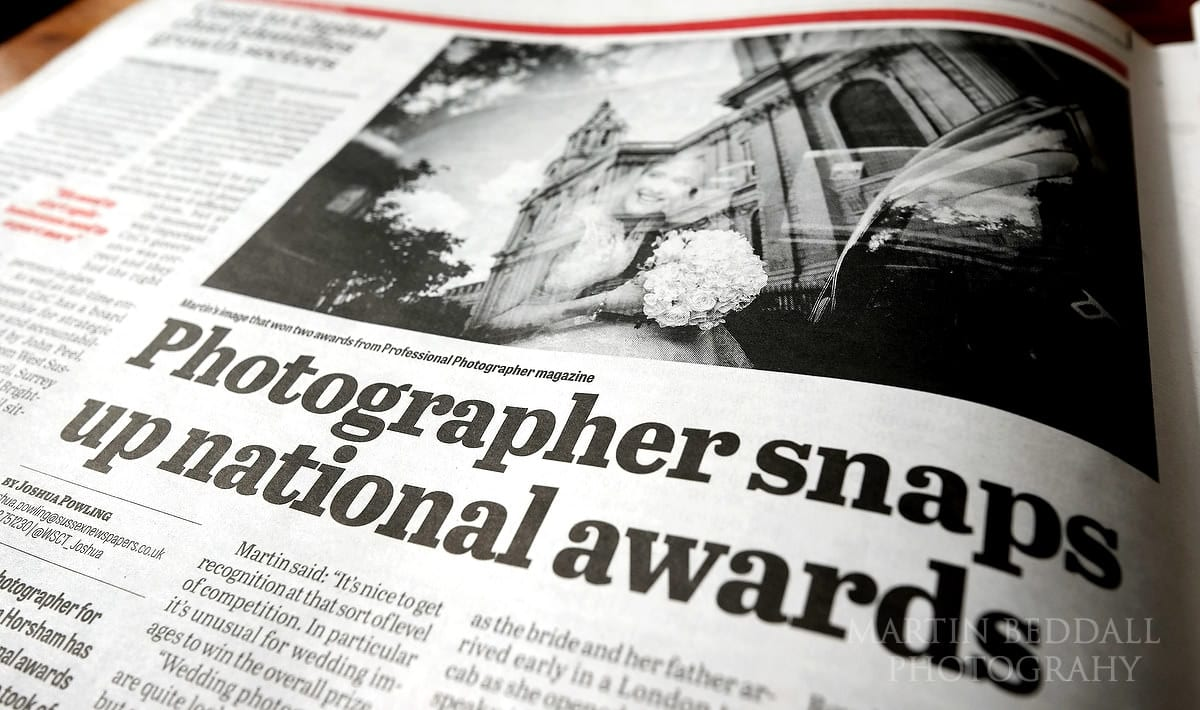 Wedding photographer featured in local paper after winning an award