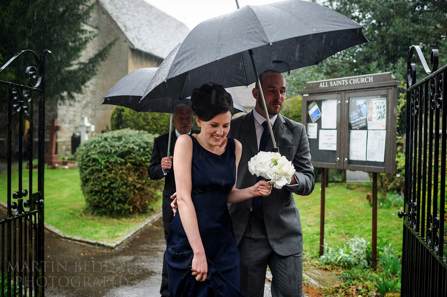 Rain after the wedding ceremony