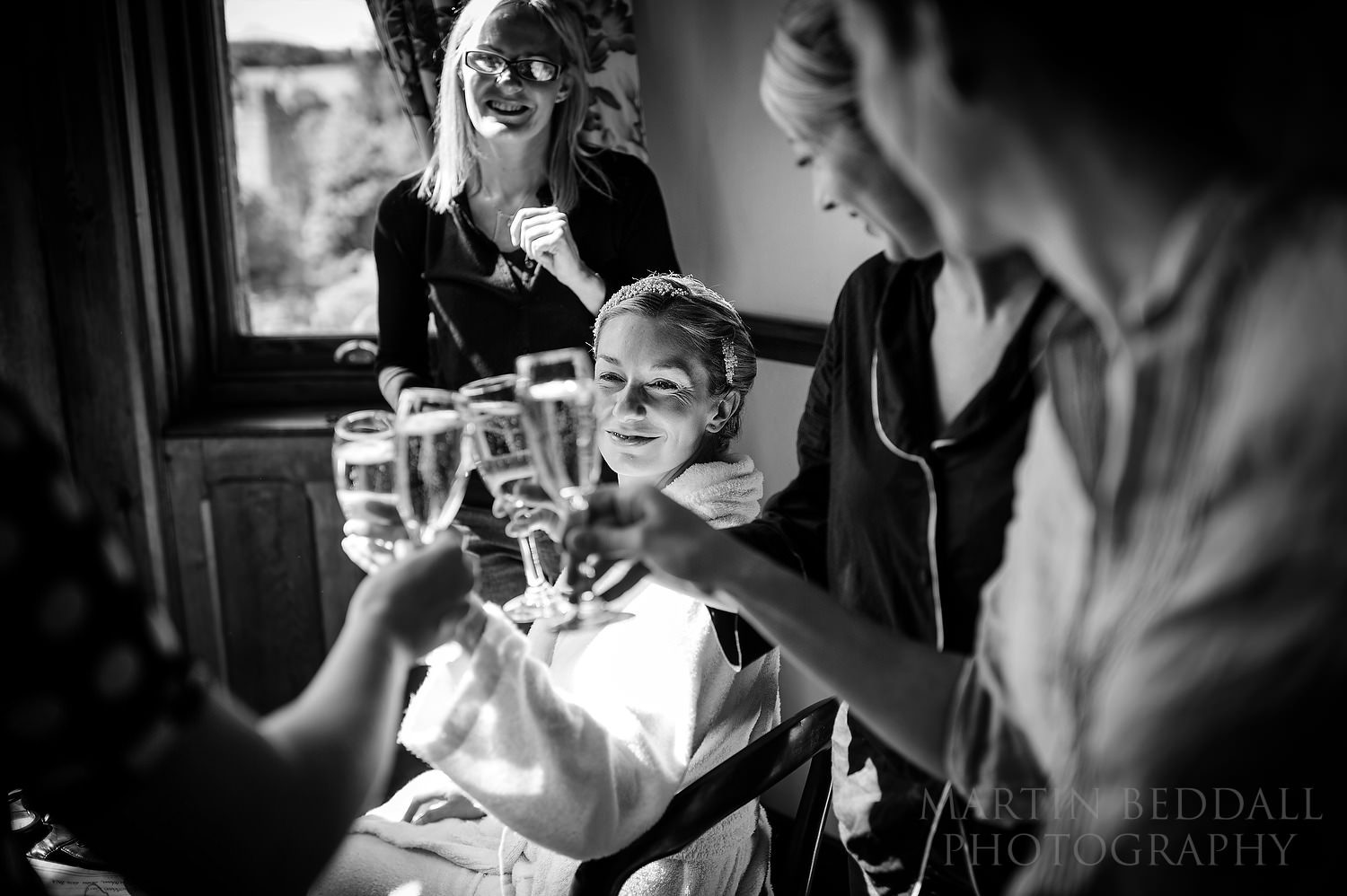 Champagne toast with the bride