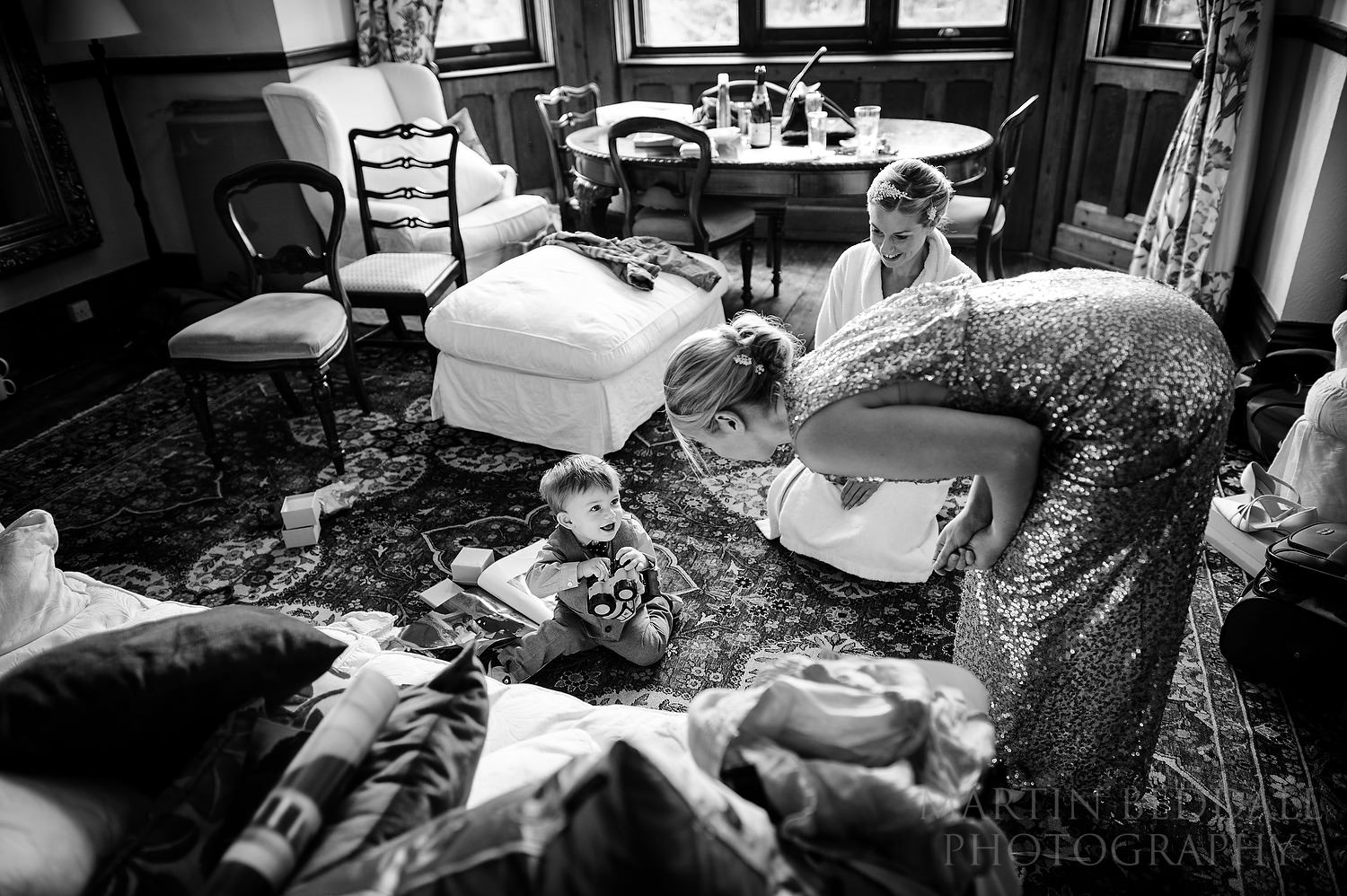 Bride's son playing in the getting ready room