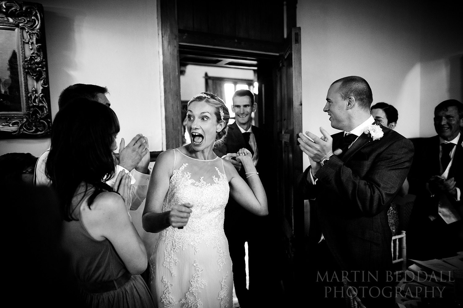 Bride and groom announced into the meal