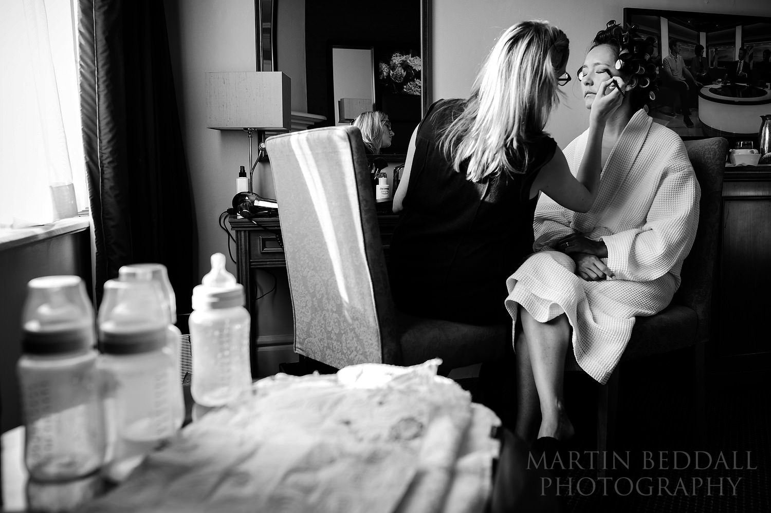 Bride getting ready at Wotton House hotel in Surrey