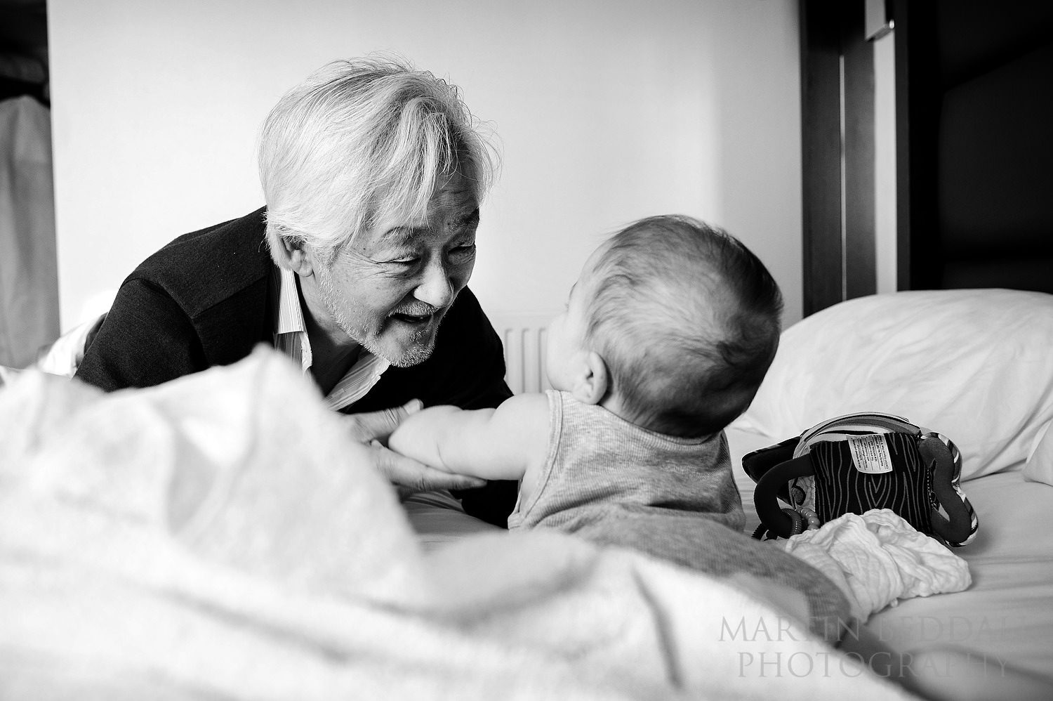 Playing with his grandfather