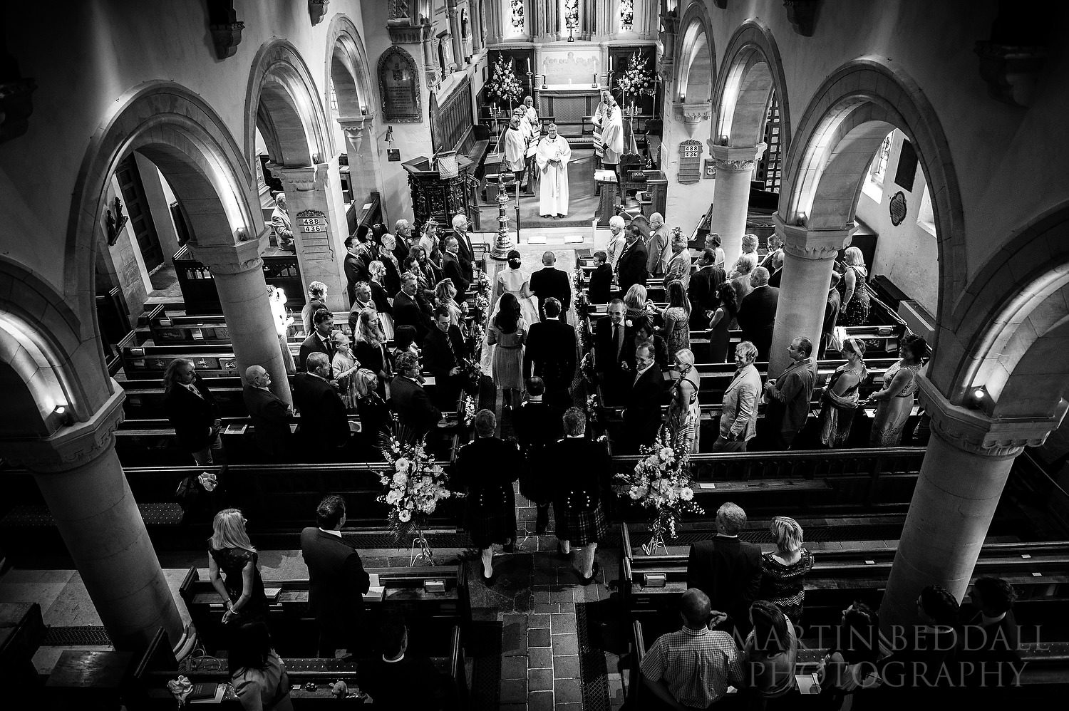 Wedding ceremony starts at St. Michael and All Angels Church in Mickleham