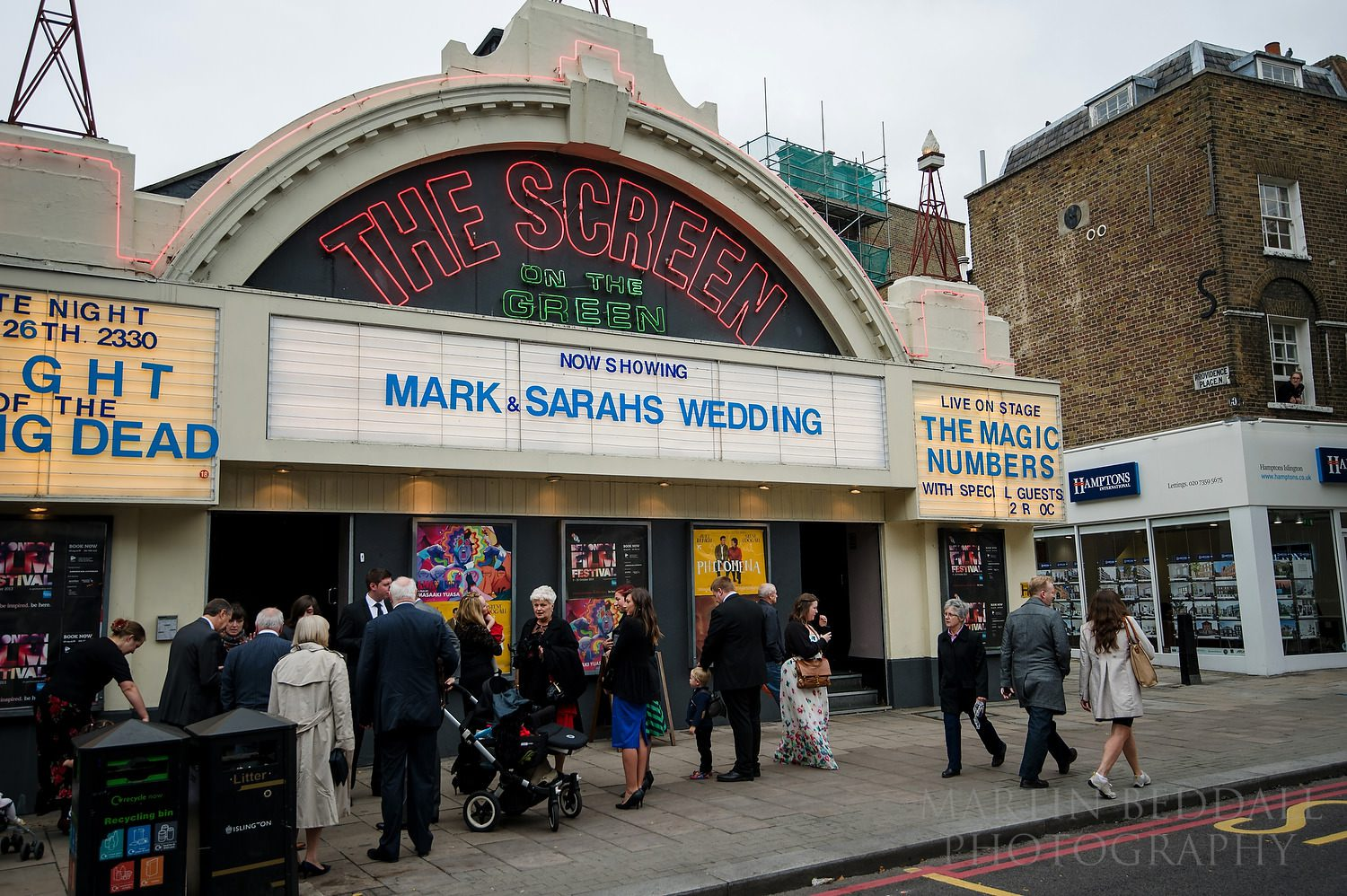 Guests arrive at Screen on the Green wedding