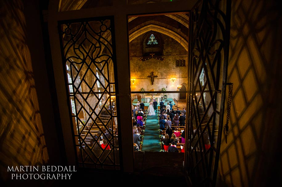 Mayfield school in Sussex wedding ceremony viewed from above