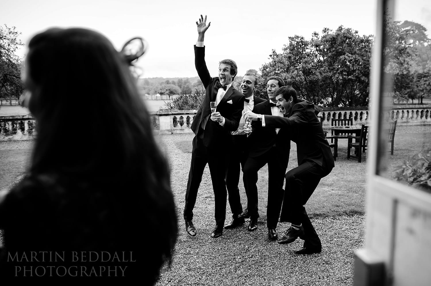 Excited wedding guests