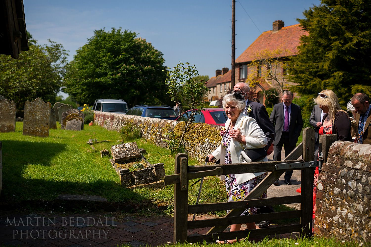 Guests enter Earnley church