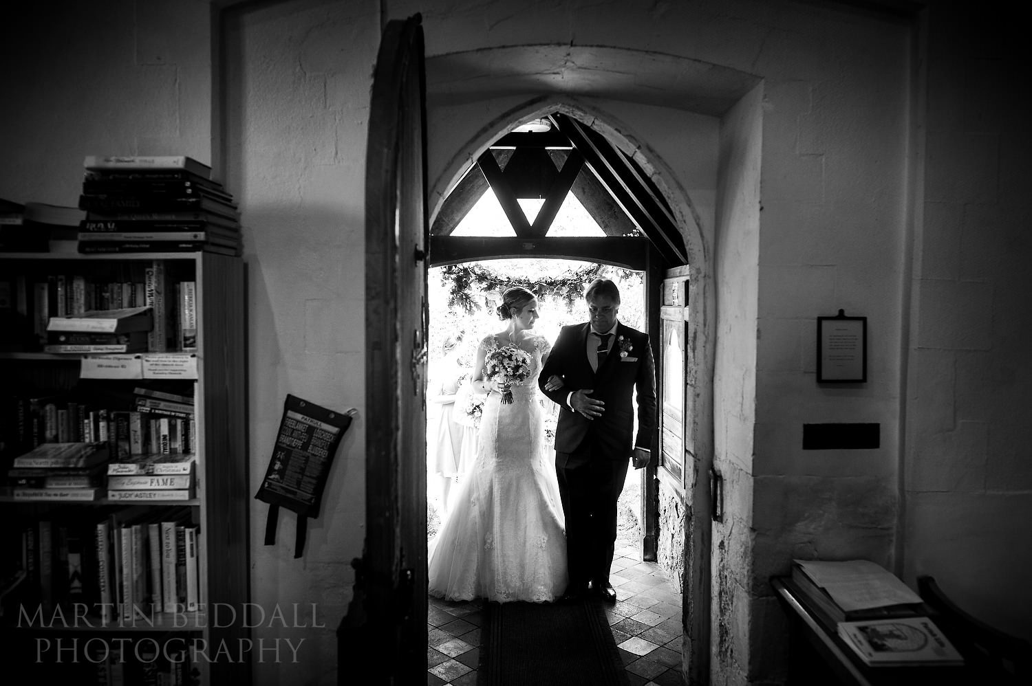 Bride and her father enter Earnley church