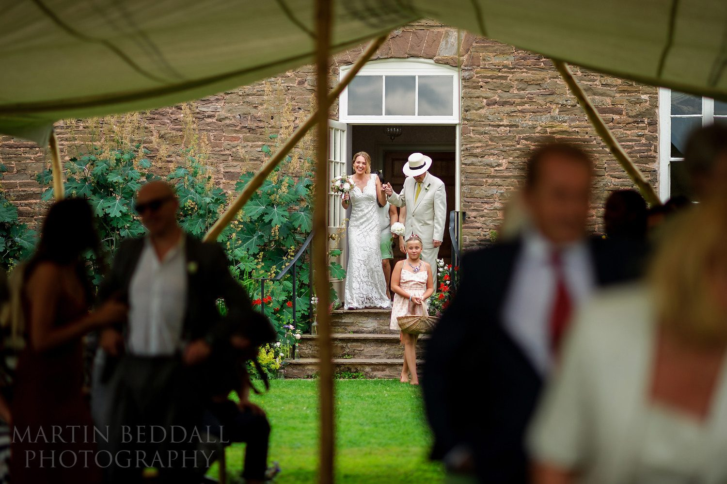 Start of the outdoor Dewsall Court wedding ceremony