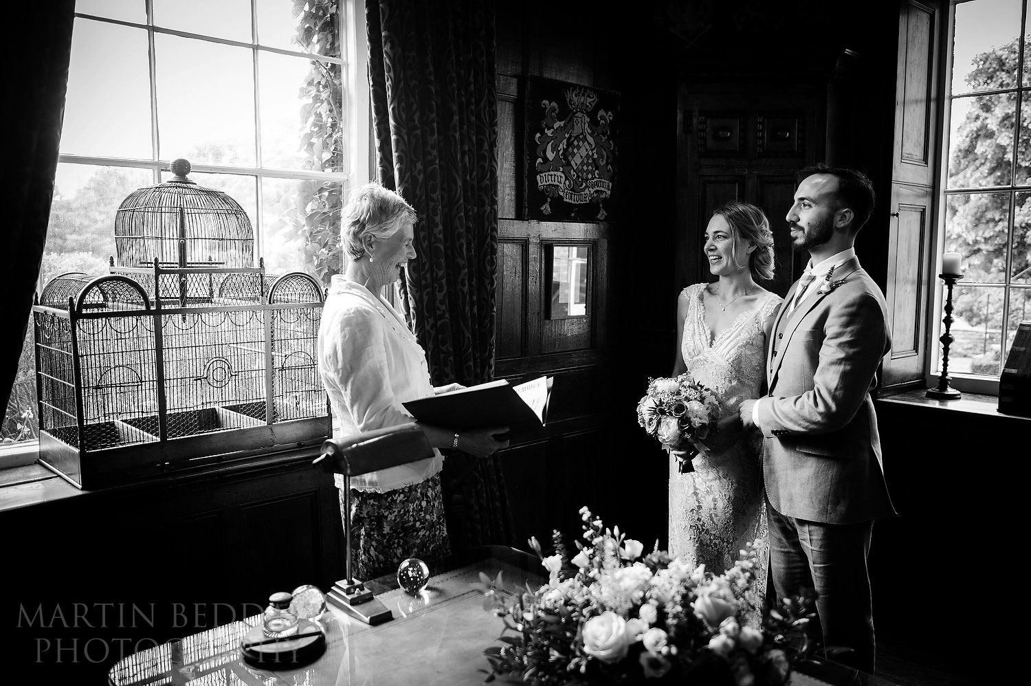 Legal part of the ceremony held in the study at Dewsall Court