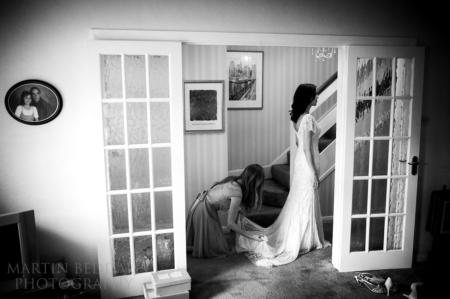 Bride getting ready at her parents' home